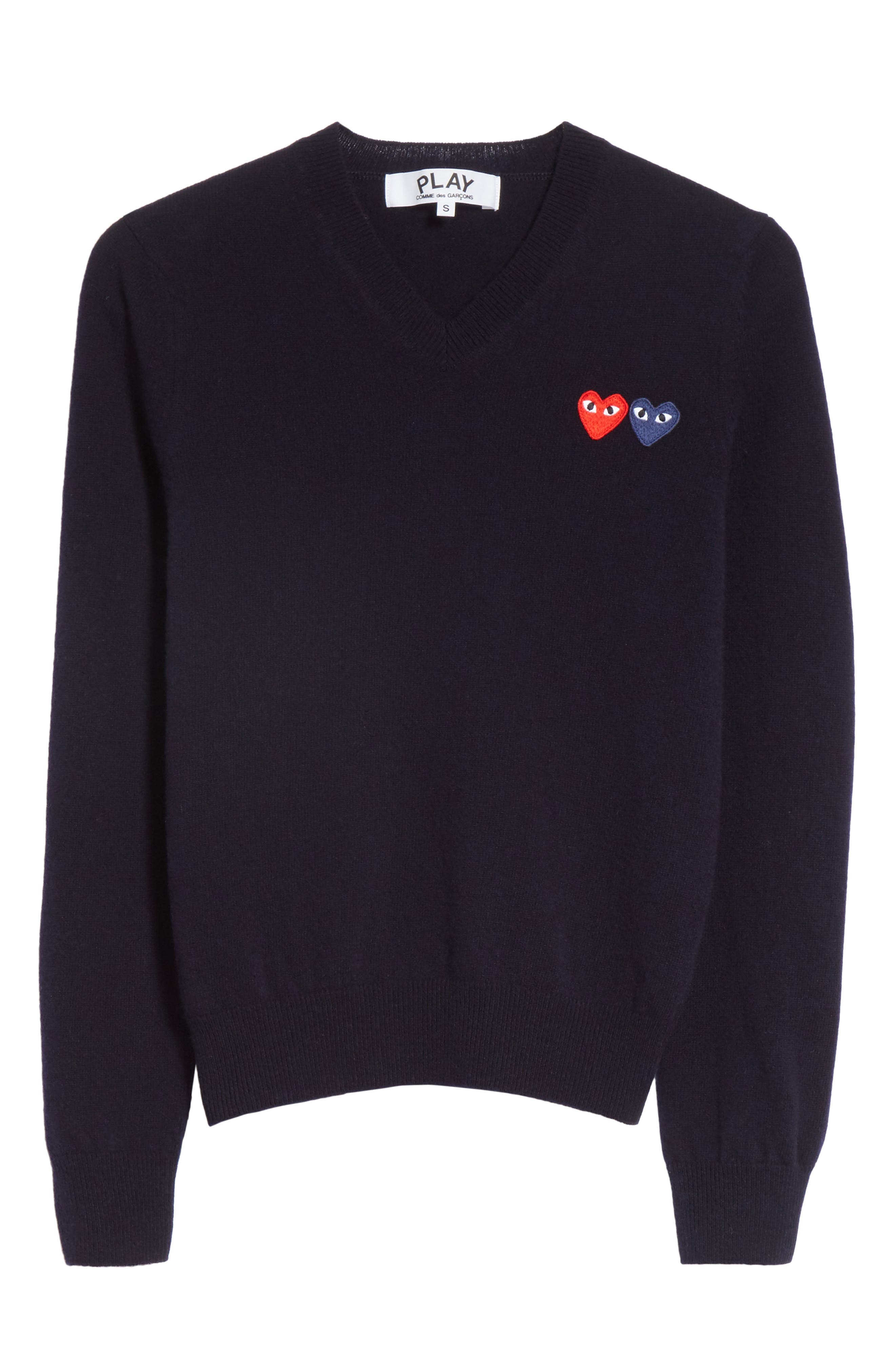 Comme des Garçons PLAY Wool Sweater,                             Alternate thumbnail 6, color,                             NAVY