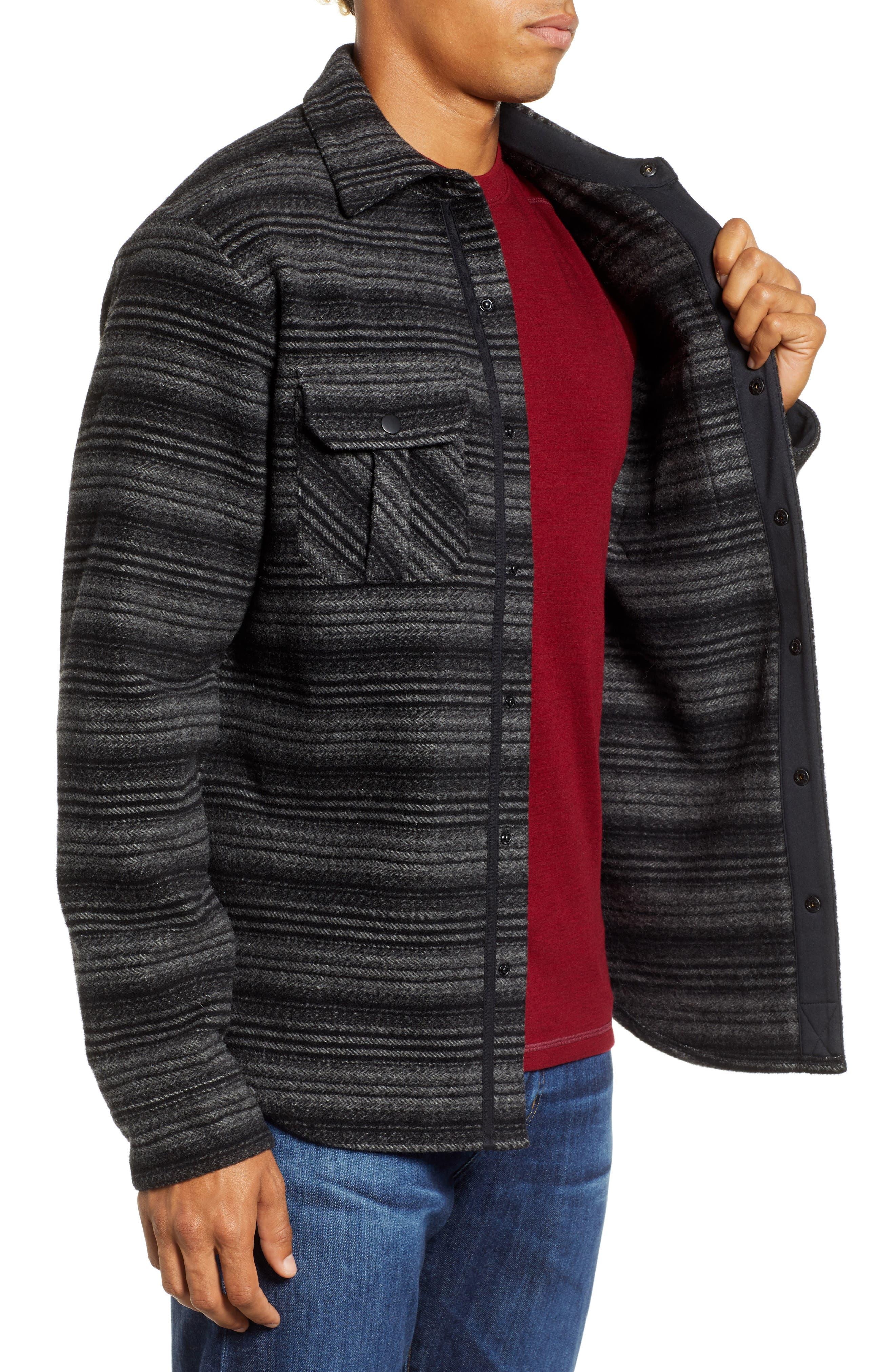 Anchor Line Flannel Shirt Jacket,                             Alternate thumbnail 4, color,                             MEDIUM GREY/ BLACK
