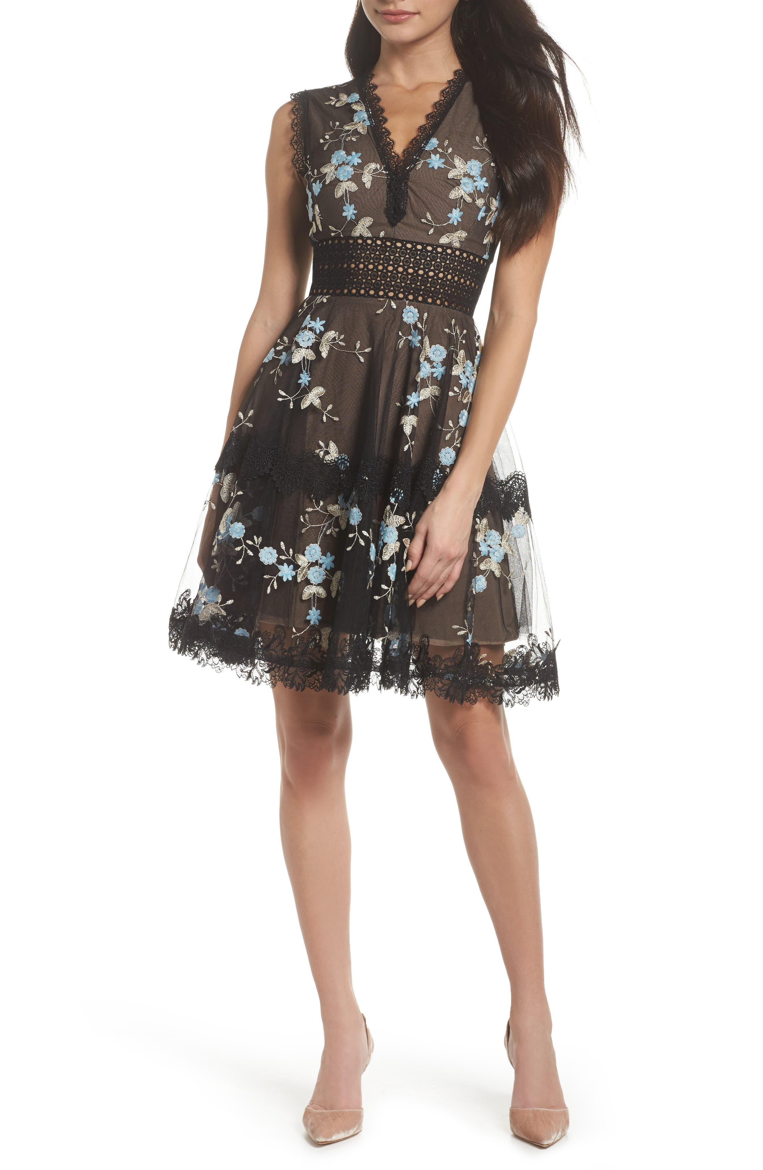 Marietta Embroidered Fit & Flare Dress,                             Main thumbnail 1, color,                             001