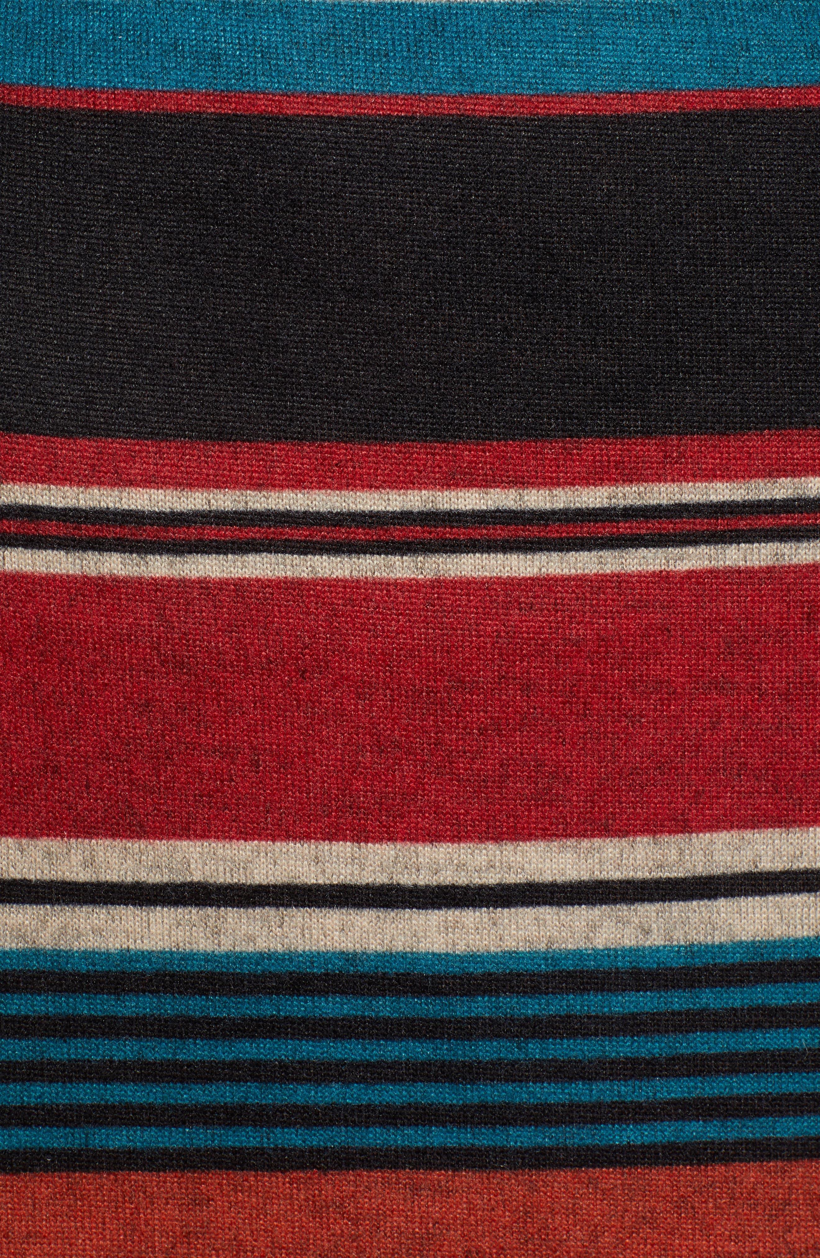 Knit Stripe Midi Dress,                             Alternate thumbnail 6, color,                             TEAL STRIPE
