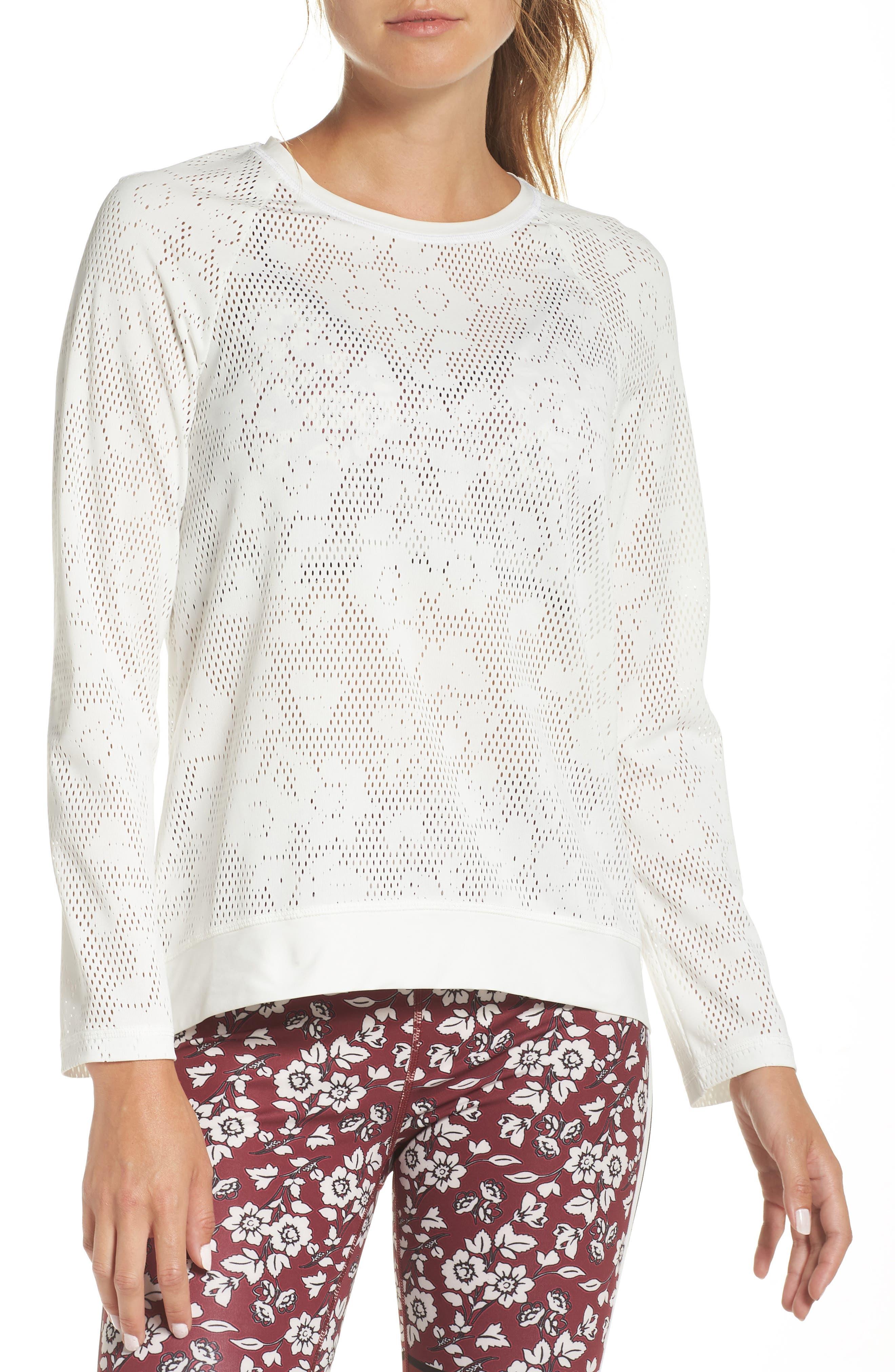floral mesh top,                         Main,                         color, CREAM