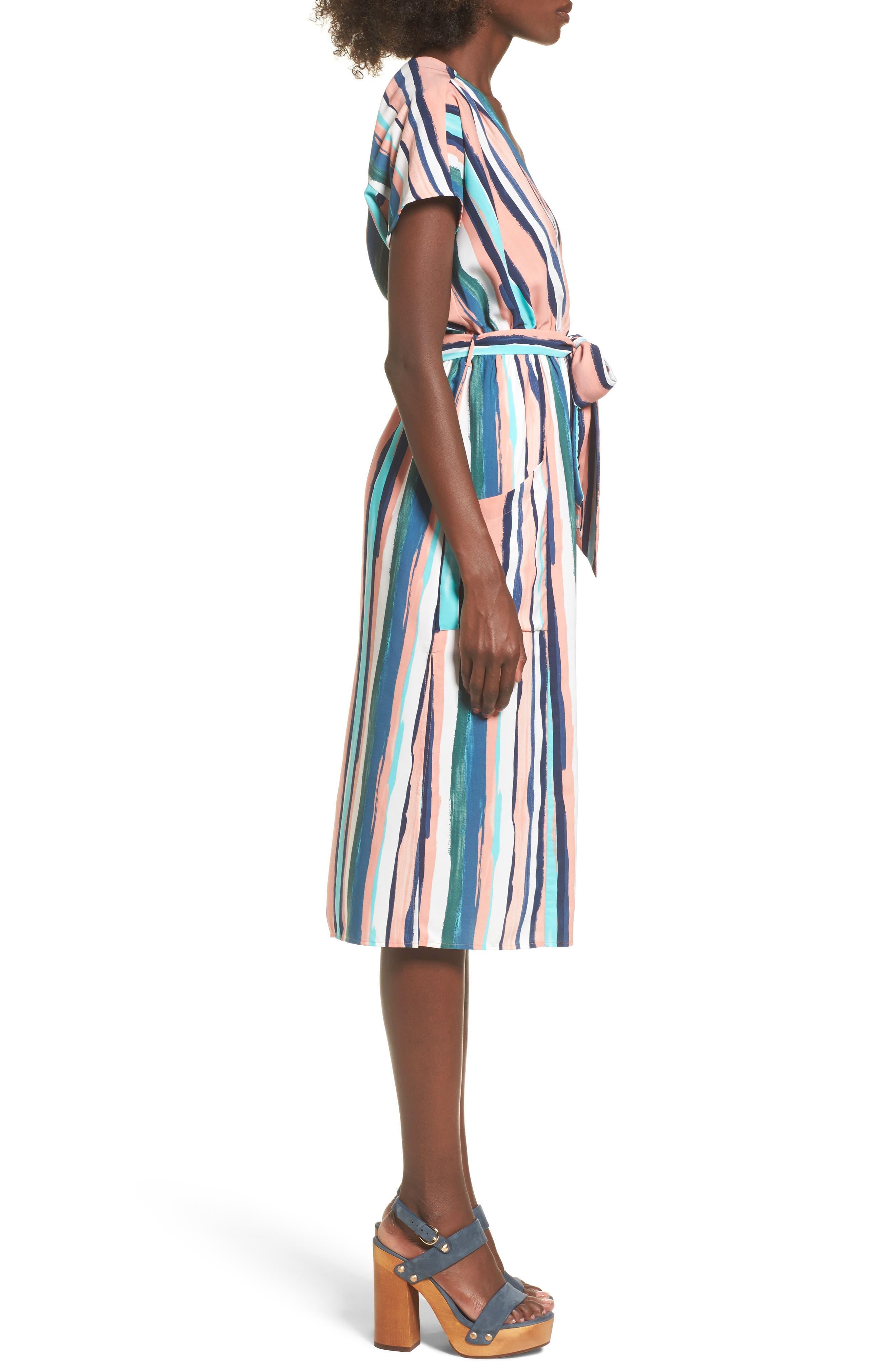 Santorini Faux Wrap Dress,                             Alternate thumbnail 3, color,                             MULTI PEACH