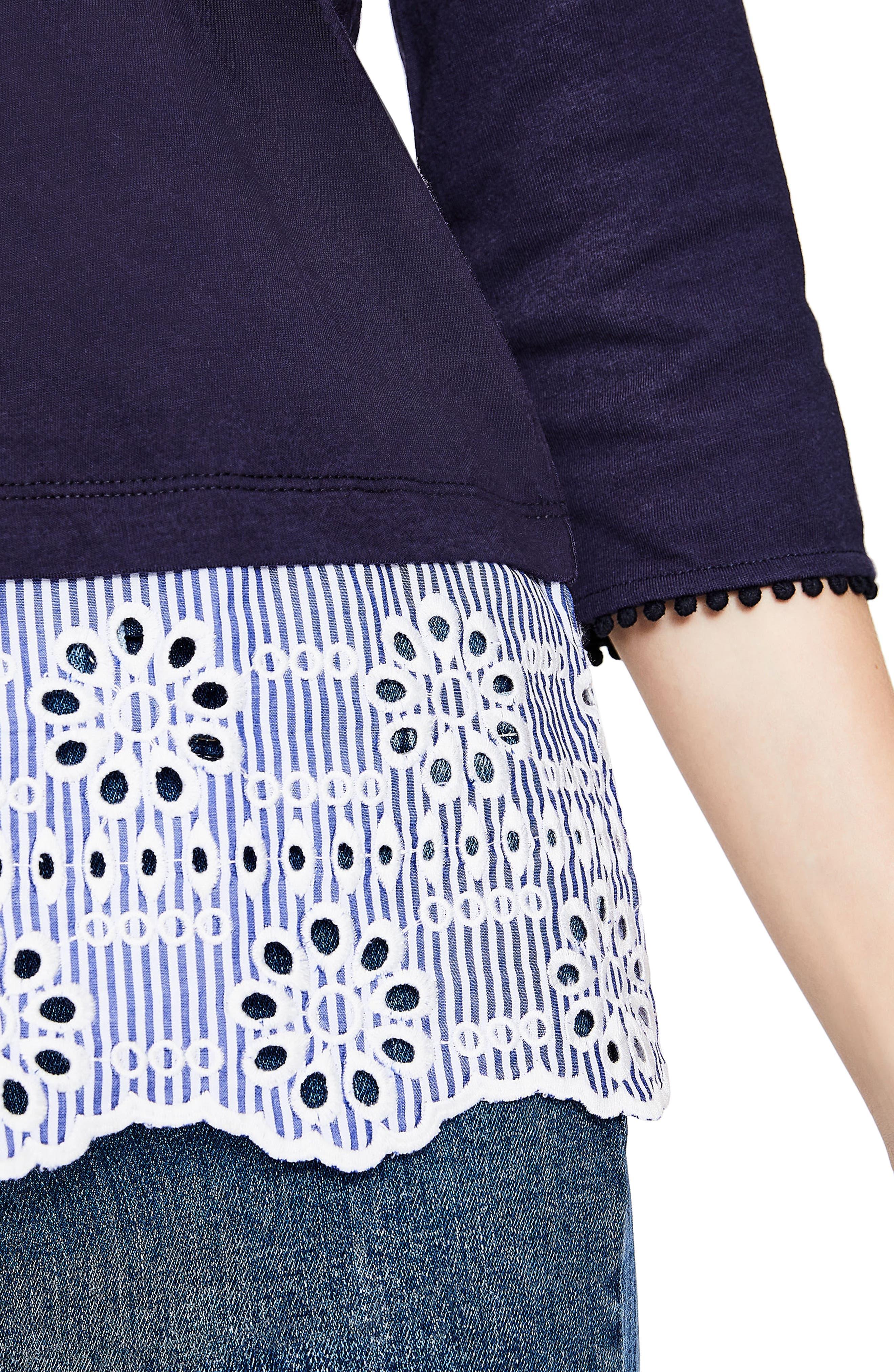 Stripe Eyelet Hem Cotton Top,                             Alternate thumbnail 3, color,                             414