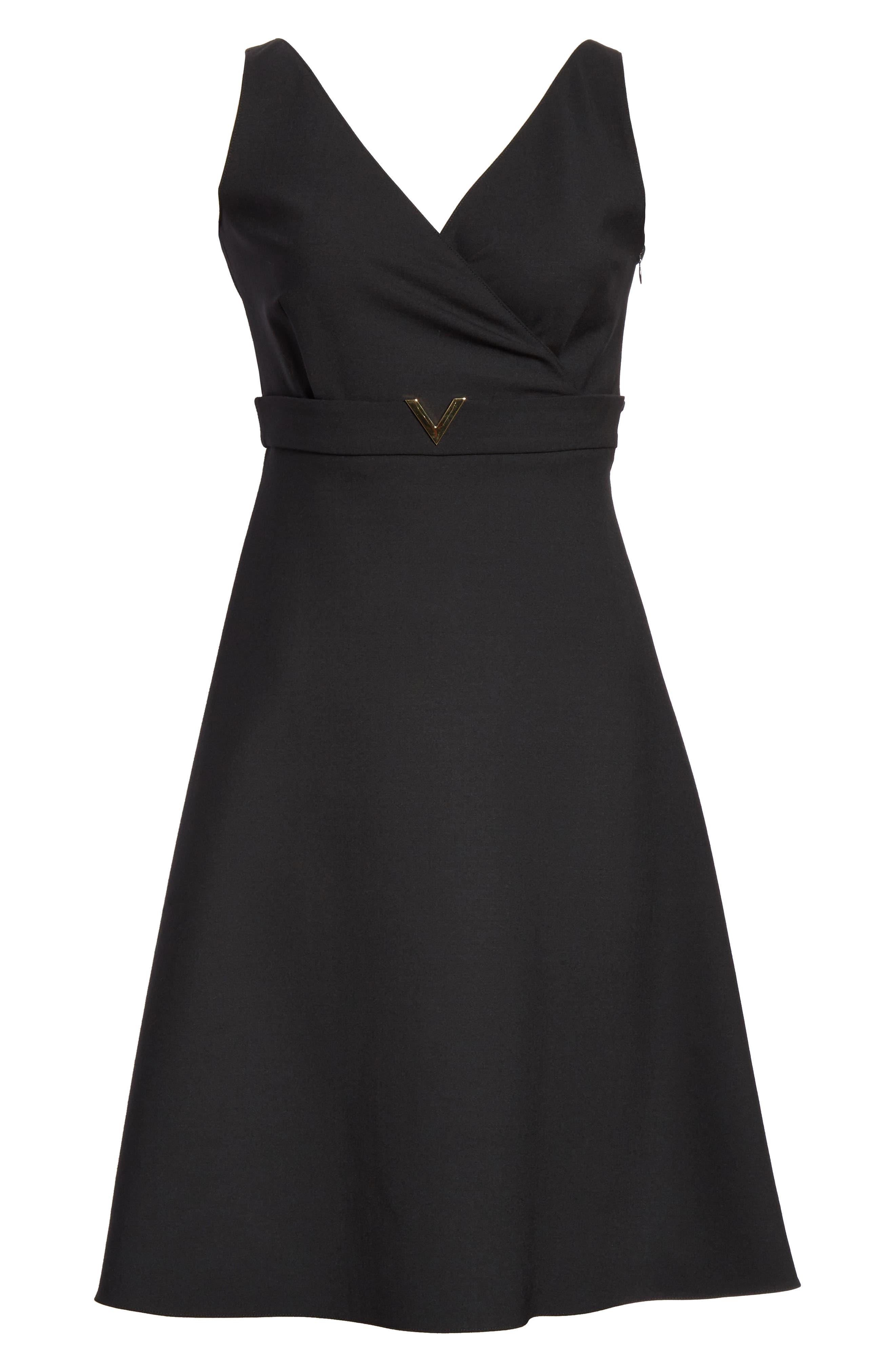 V-Hardware Double Crepe Dress,                             Alternate thumbnail 7, color,                             BLACK