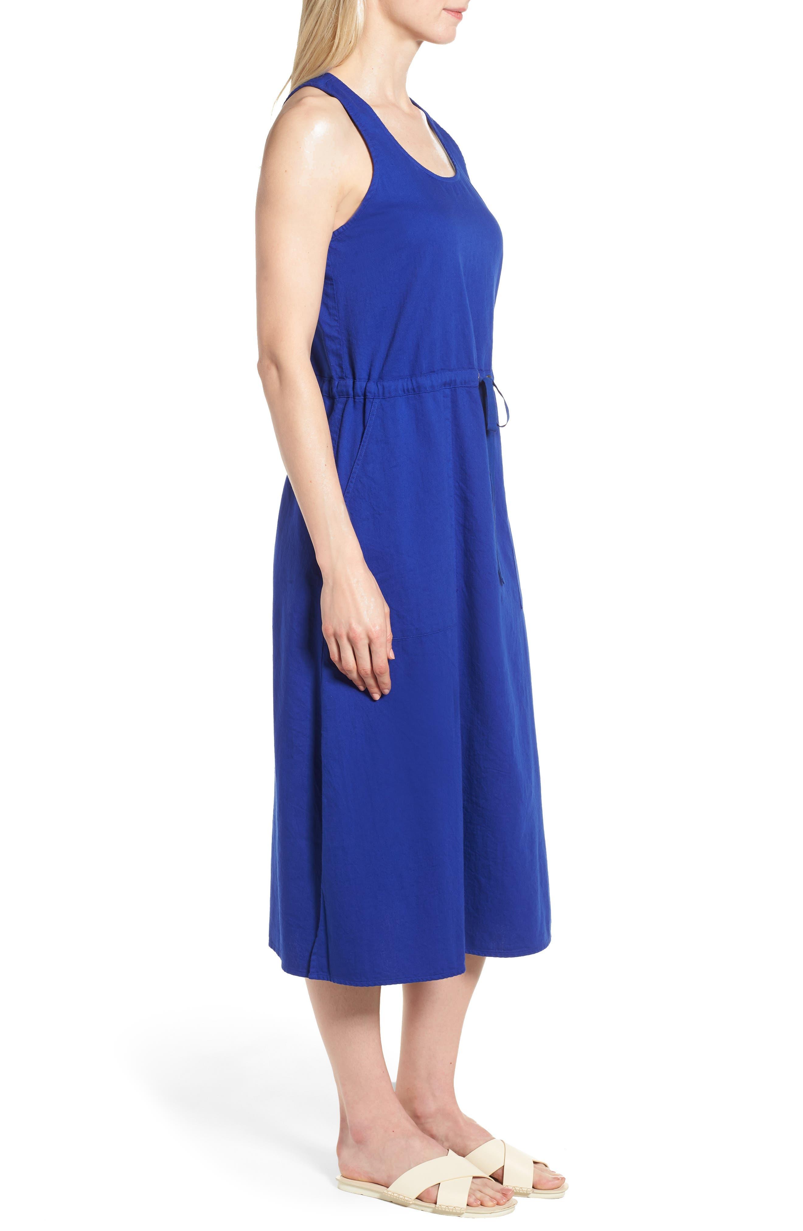 Drawstring Organic Cotton Midi Dress,                             Alternate thumbnail 13, color,