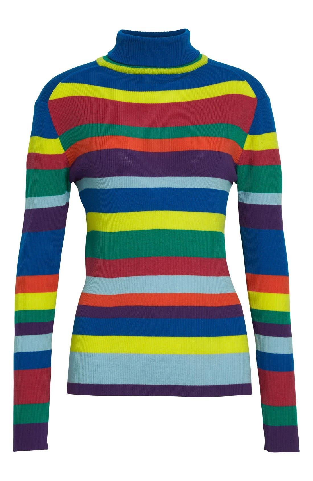 Stripe Merino Wool Turtleneck,                             Alternate thumbnail 3, color,                             960