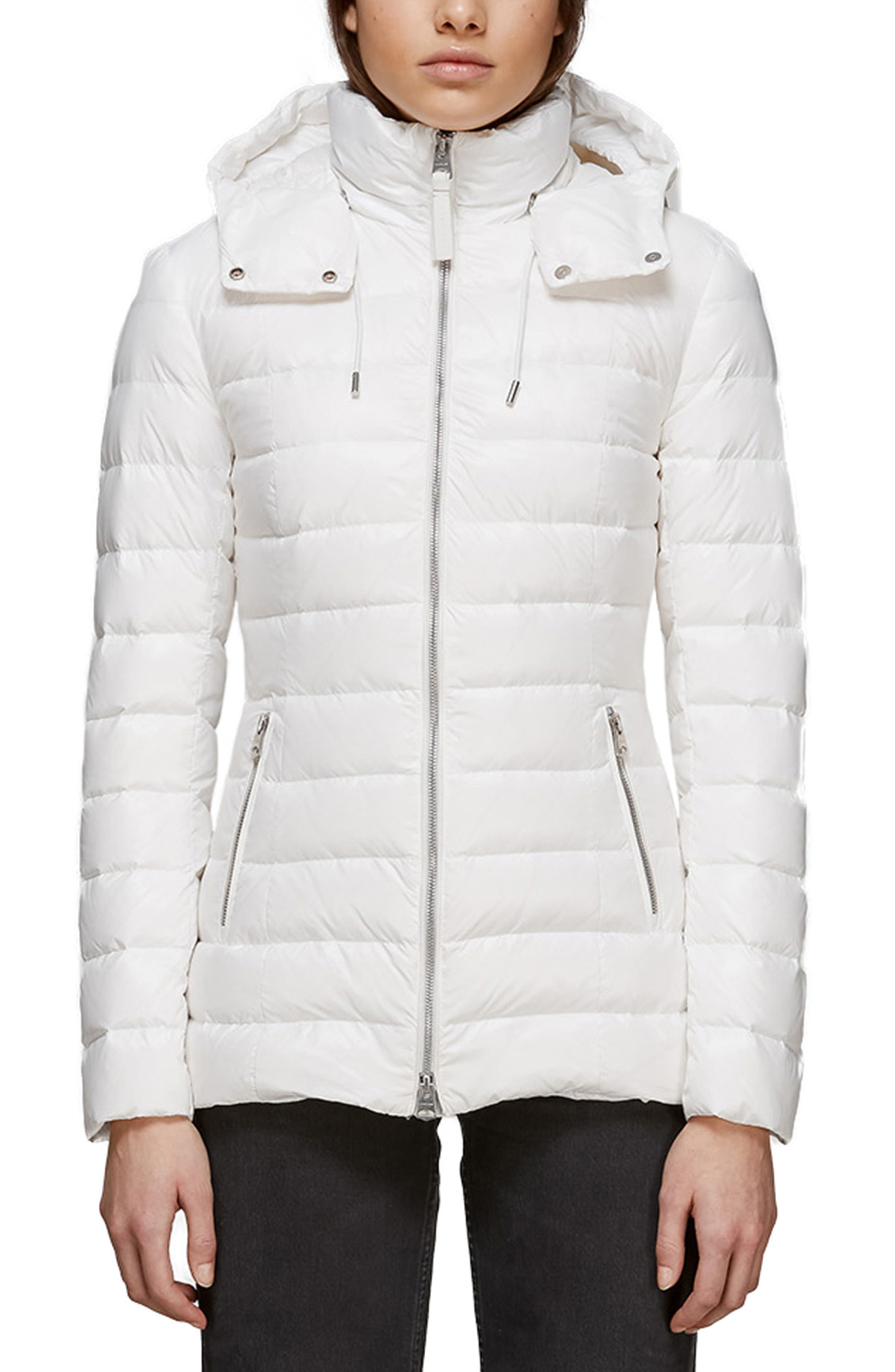 Mackage Lightweight Hooded Water Repellent 800 Plus Fill Power Down Jacket, White