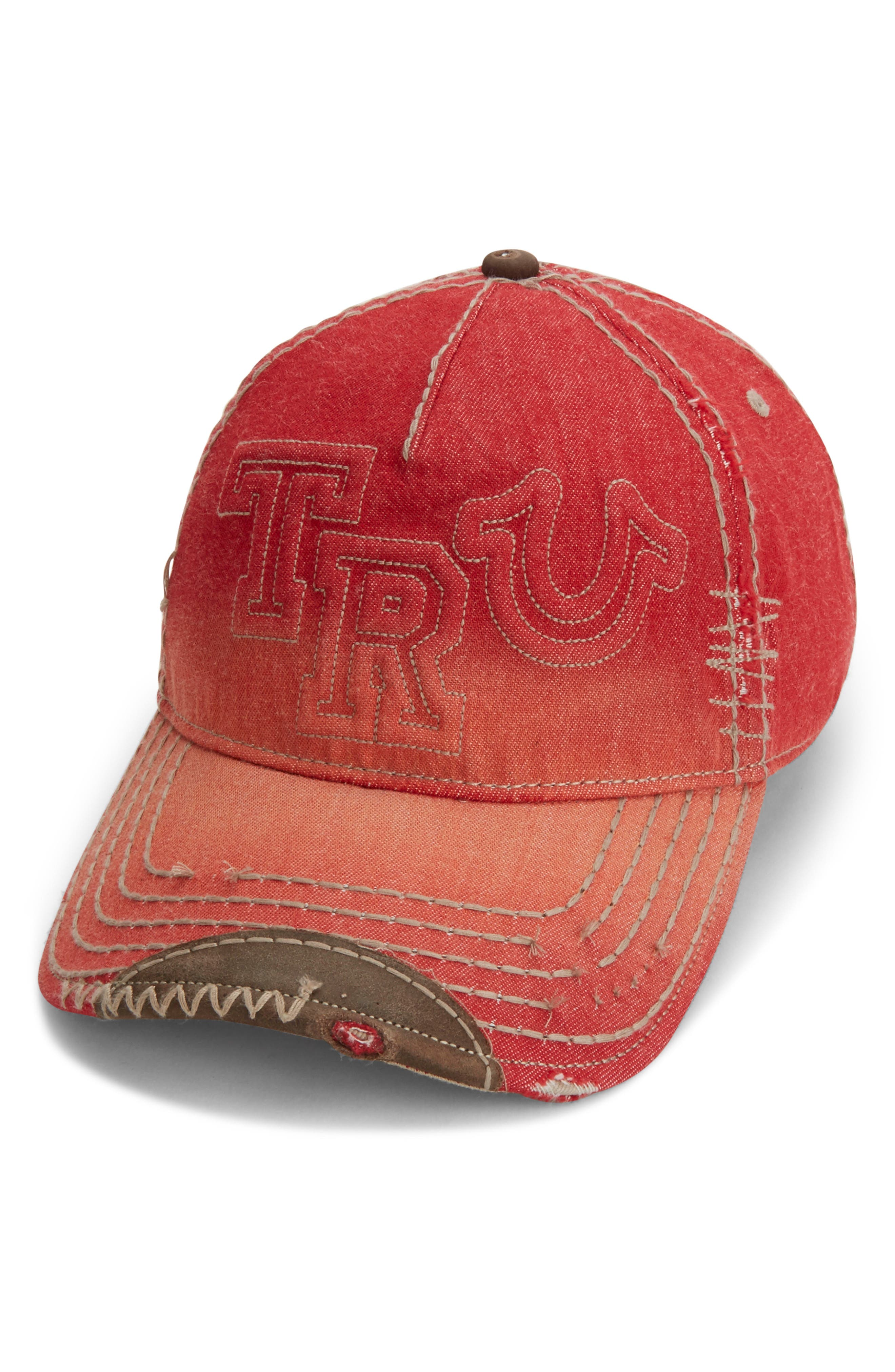 Denim Baseball Cap,                             Main thumbnail 3, color,