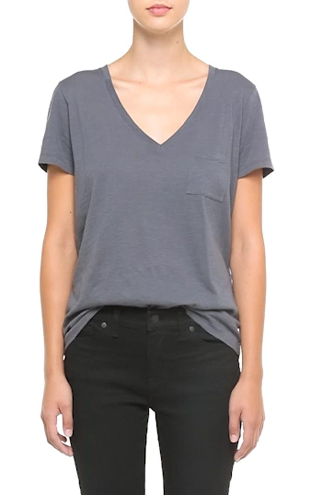 Whisper Cotton V-Neck Pocket Tee,                             Alternate thumbnail 136, color,