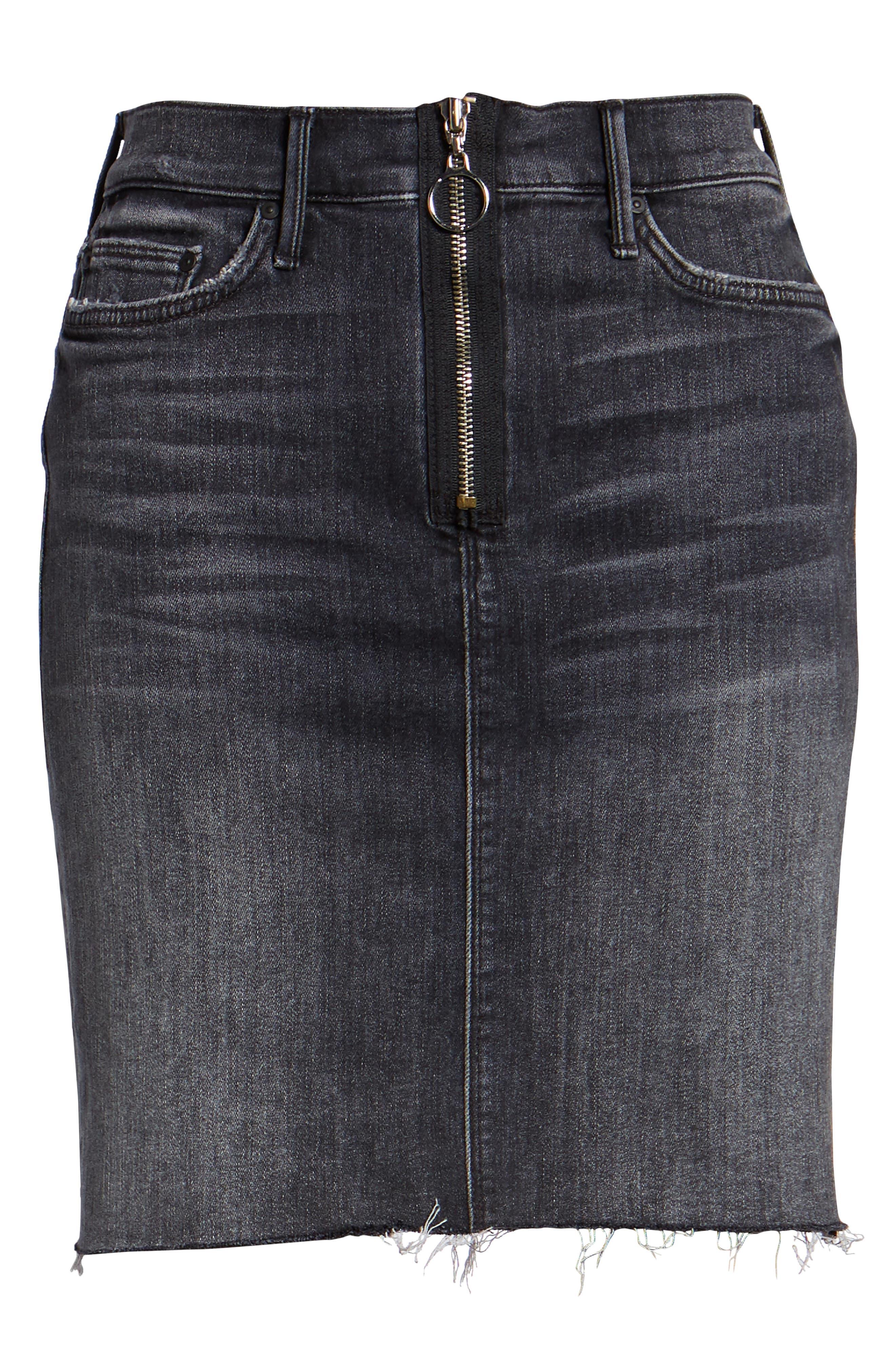Swooner Exposed Zip Denim Miniskirt,                             Alternate thumbnail 7, color,                             LEAVE THE LIGHT ON