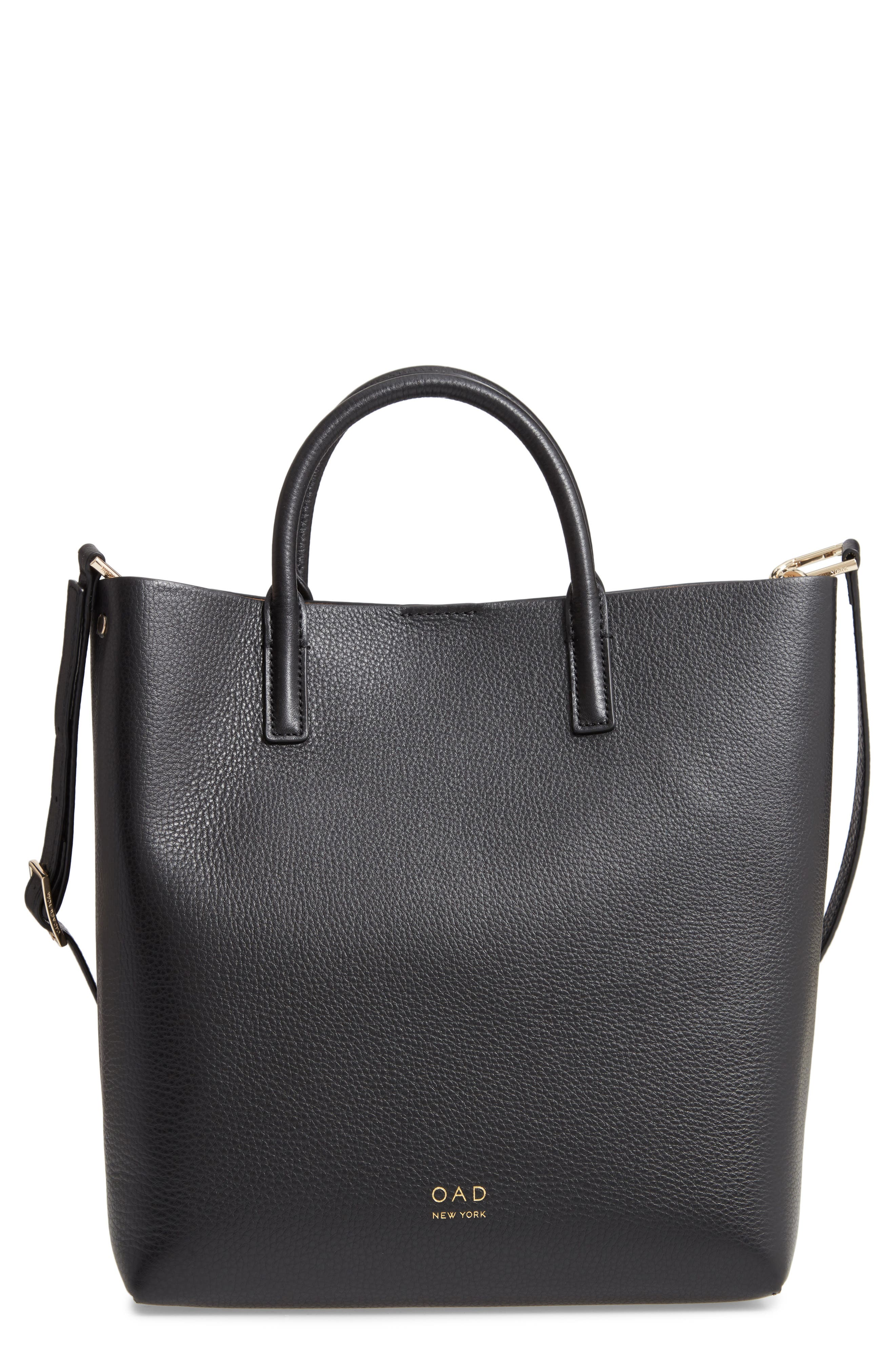 Tall Carryall Pebbled Leather Tote,                         Main,                         color, TRUE BLACK