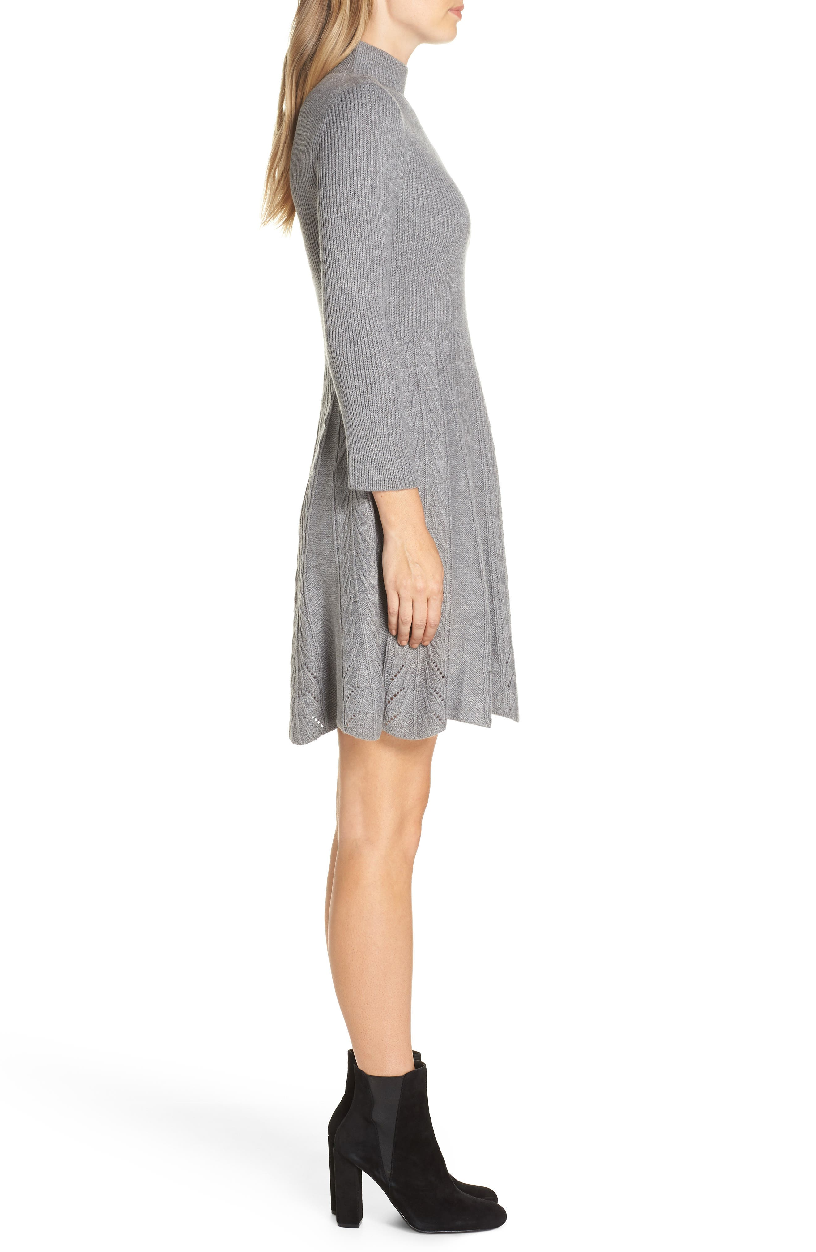 Mock Neck Fit & Flare Sweater Dress,                             Alternate thumbnail 3, color,                             GREY