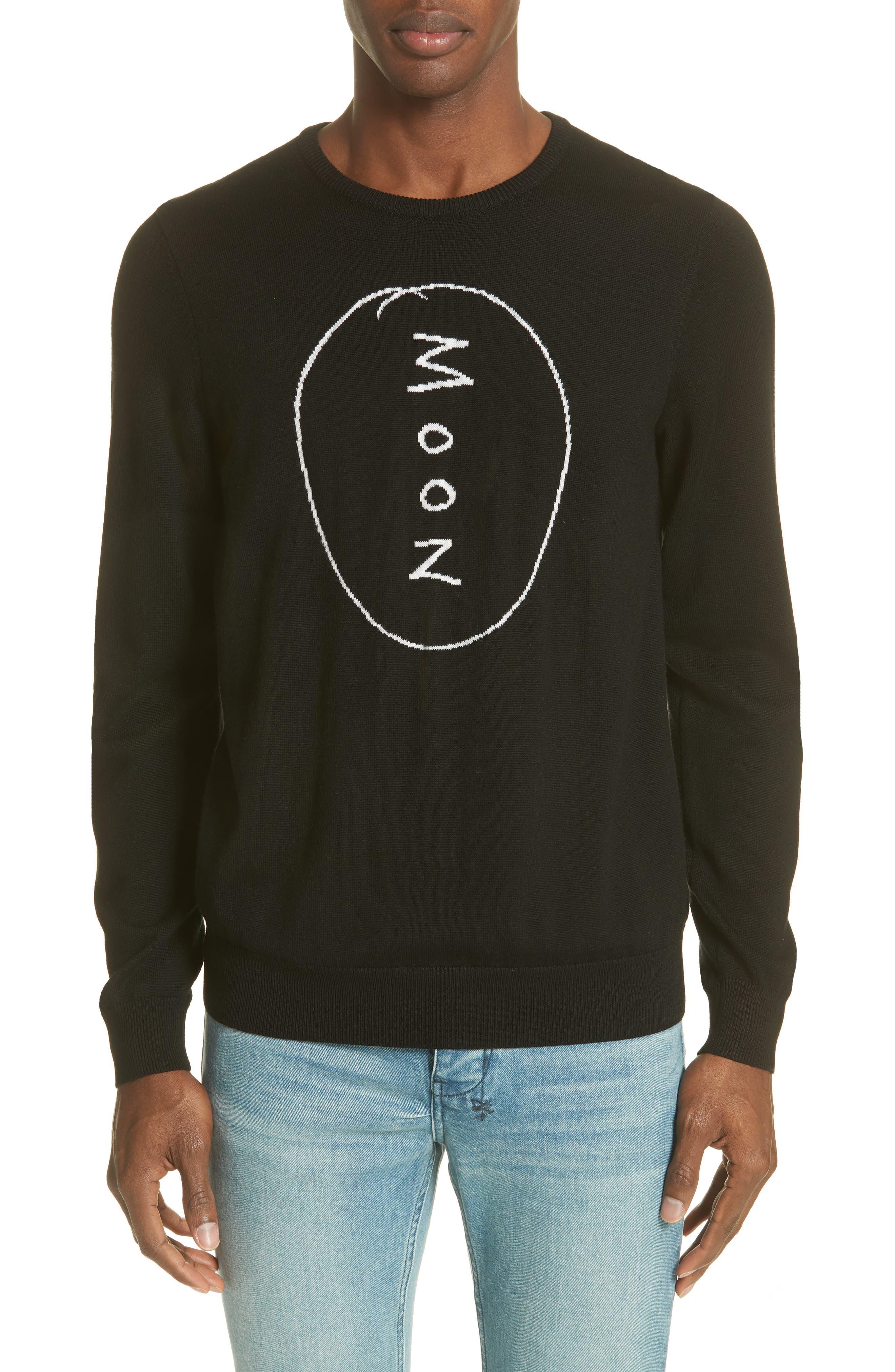 Double Rainbouu Moon Merino Wool Sweater, Black