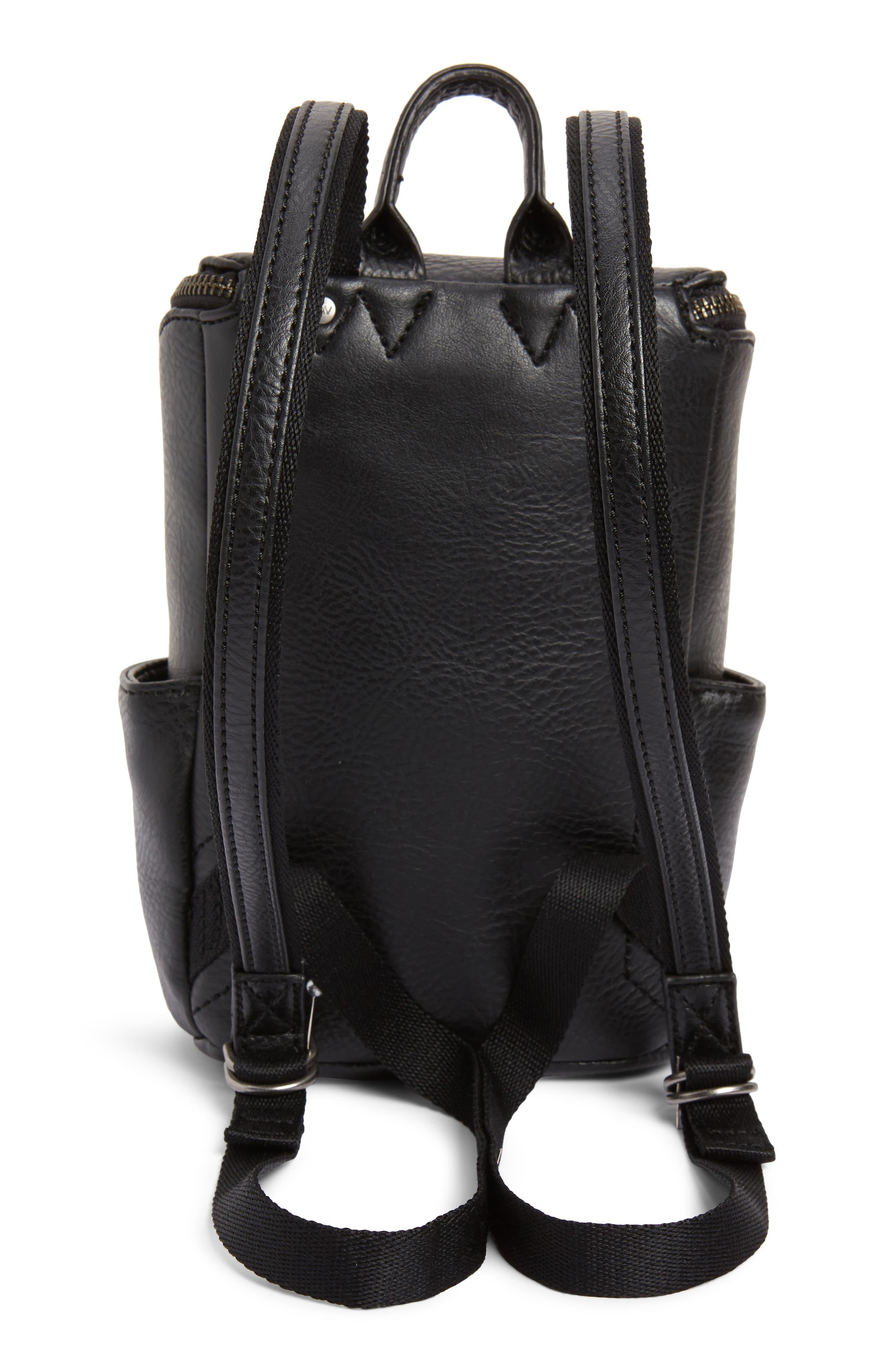 Mini Brave Faux Leather Backpack,                             Alternate thumbnail 3, color,                             BLACK