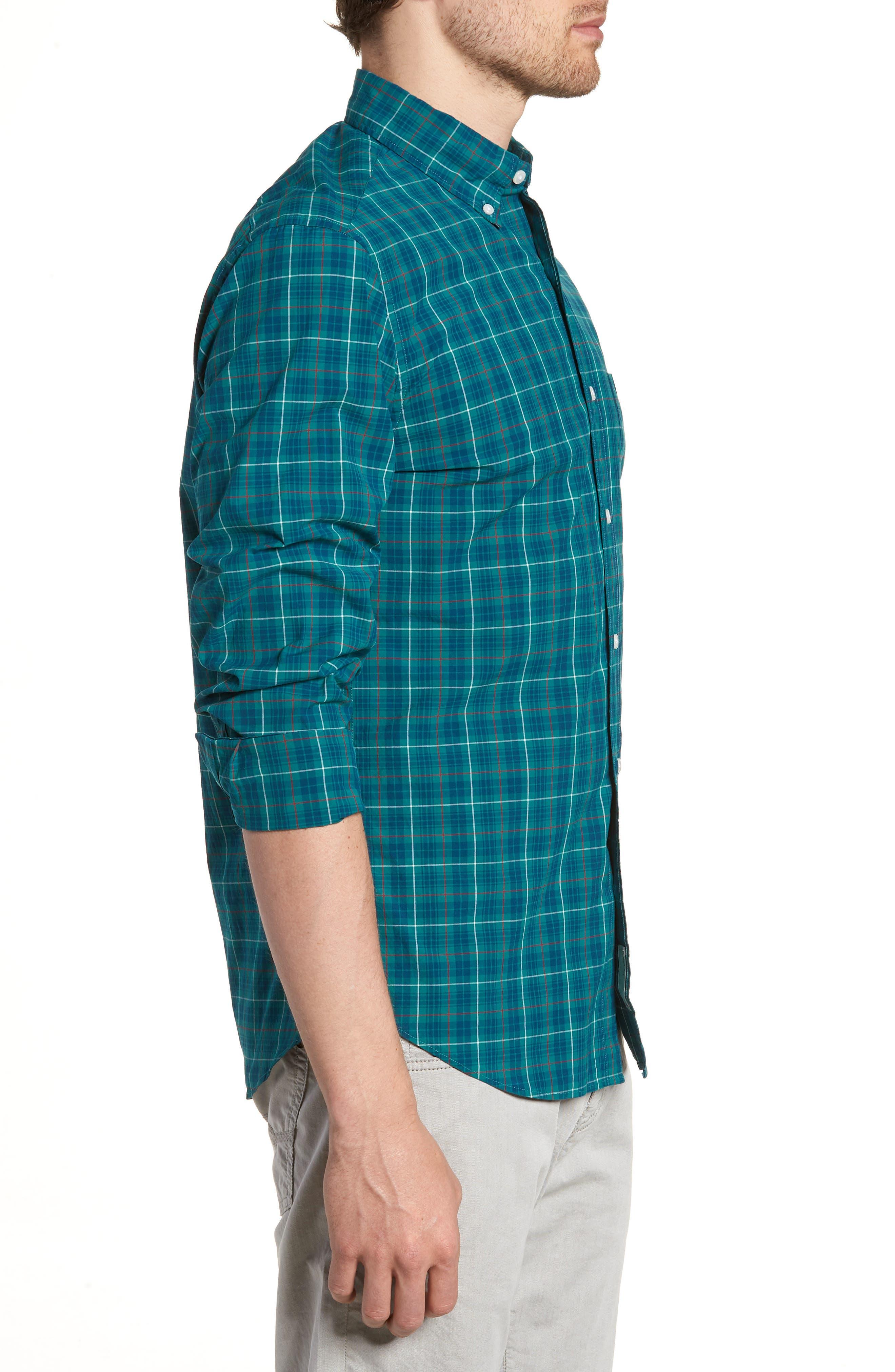 Slim Fit Stretch Secret Wash Plaid Sport Shirt,                             Alternate thumbnail 3, color,