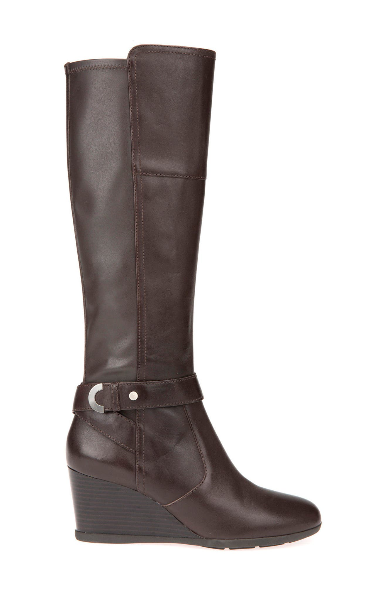 Inspiration Knee High Wedge Boot,                             Alternate thumbnail 3, color,                             COFFEE LEATHER