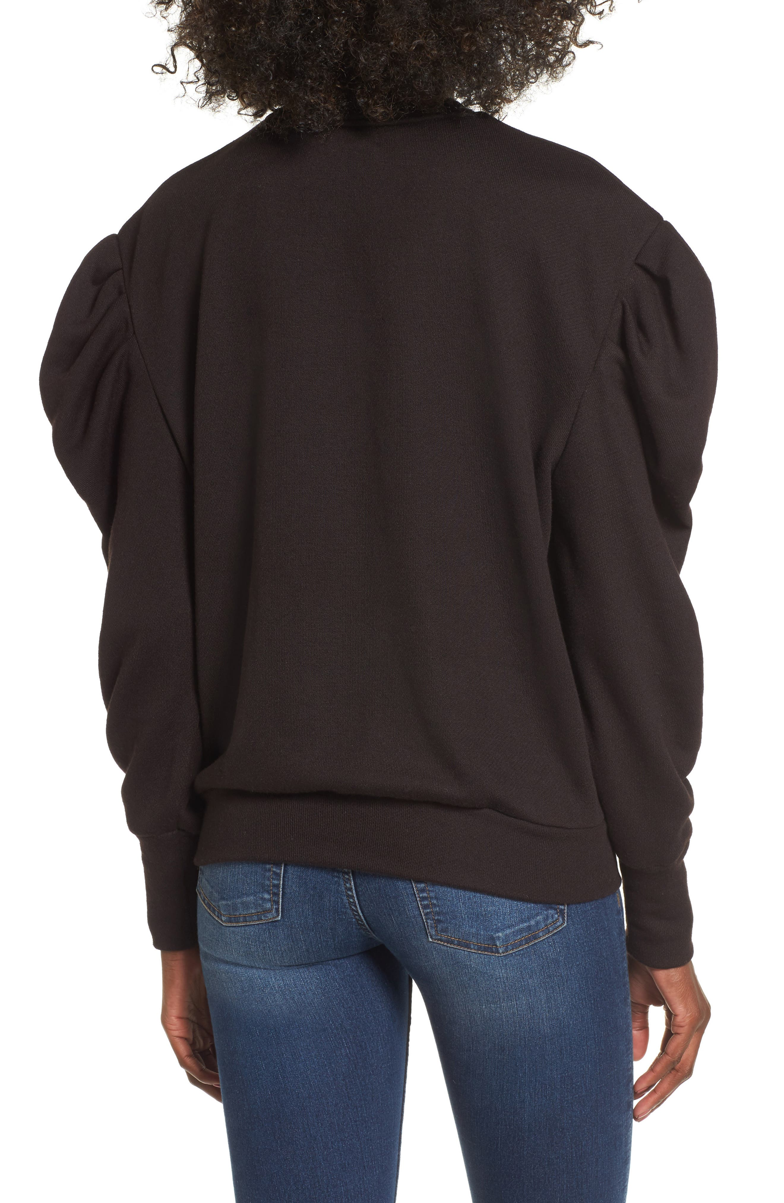 James Balloon Sleeve Sweatshirt,                             Alternate thumbnail 2, color,                             001