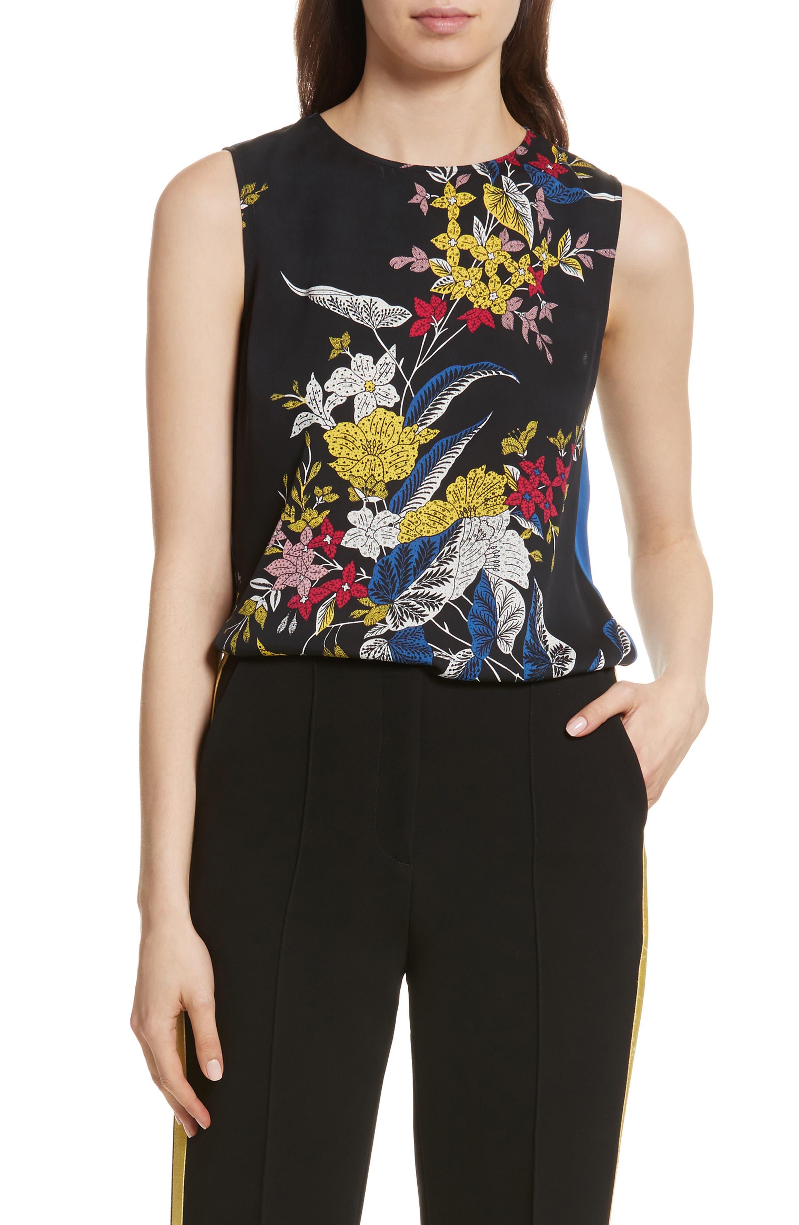 Diane von Furstenberg Floral Print Silk Shell,                         Main,                         color, 002