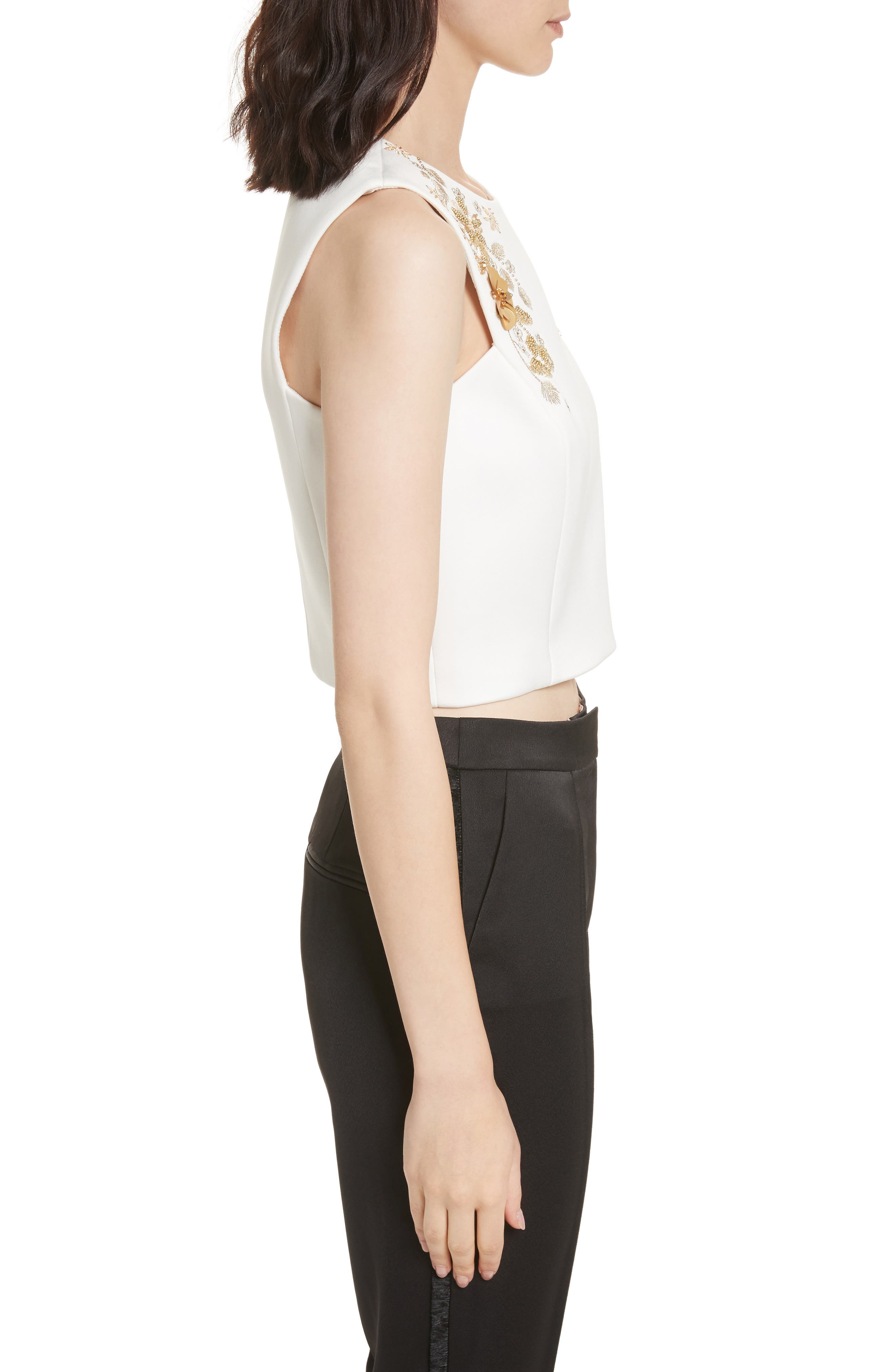 Embellished Bee Sleeveless Crop Top,                             Alternate thumbnail 3, color,                             115