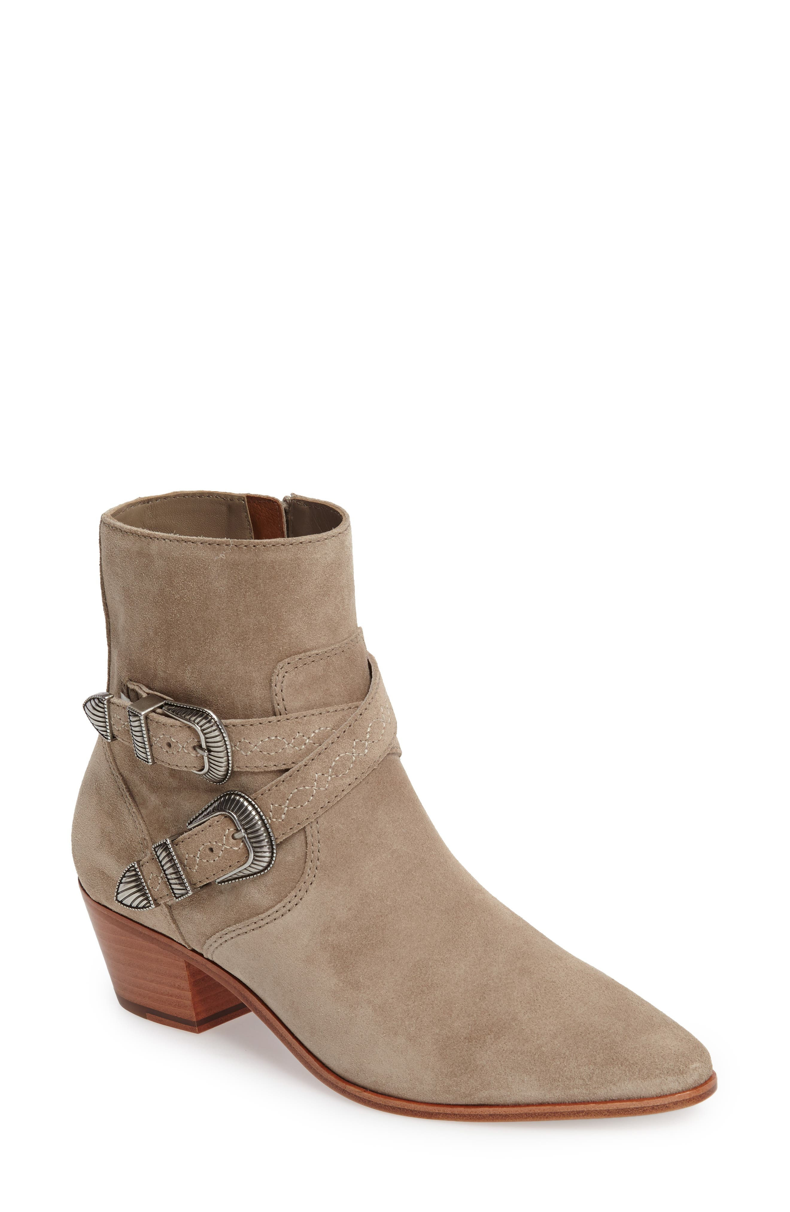 Ellen Buckle Strap Bootie,                             Main thumbnail 1, color,                             ASH