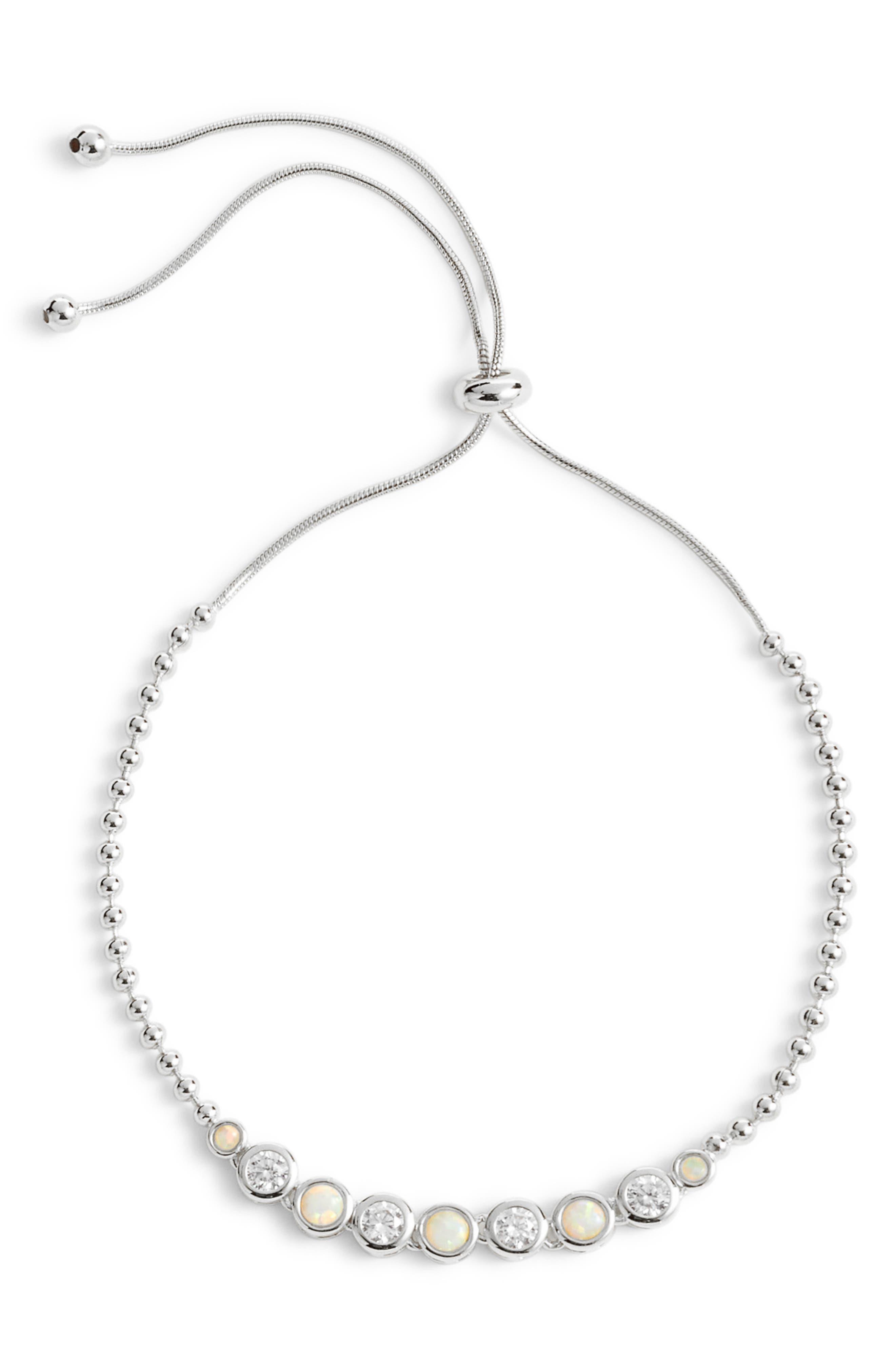 Opal Adjustable Bracelet,                             Main thumbnail 1, color,                             OPAL/ SILVER