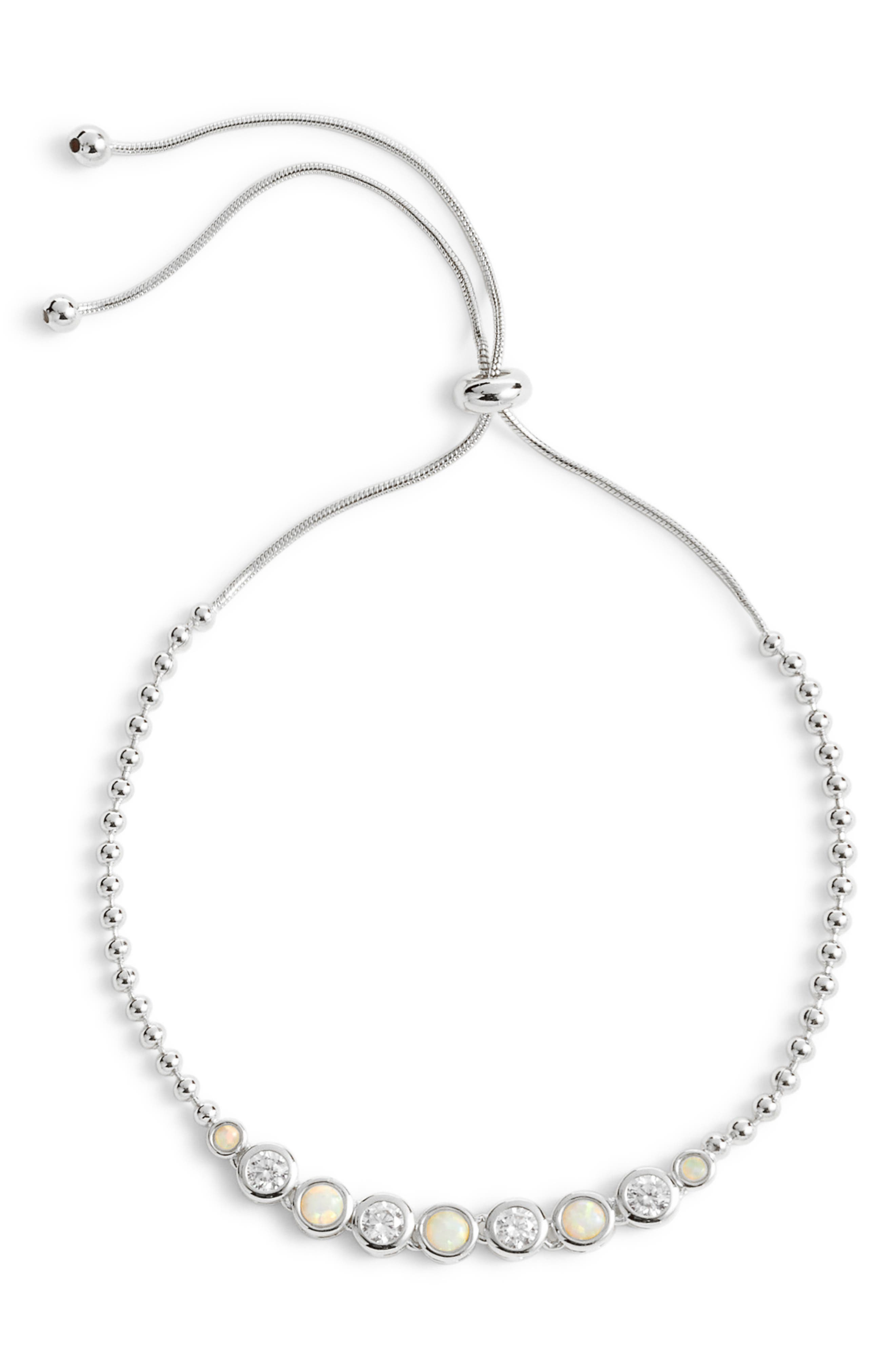 Opal Adjustable Bracelet,                         Main,                         color, OPAL/ SILVER