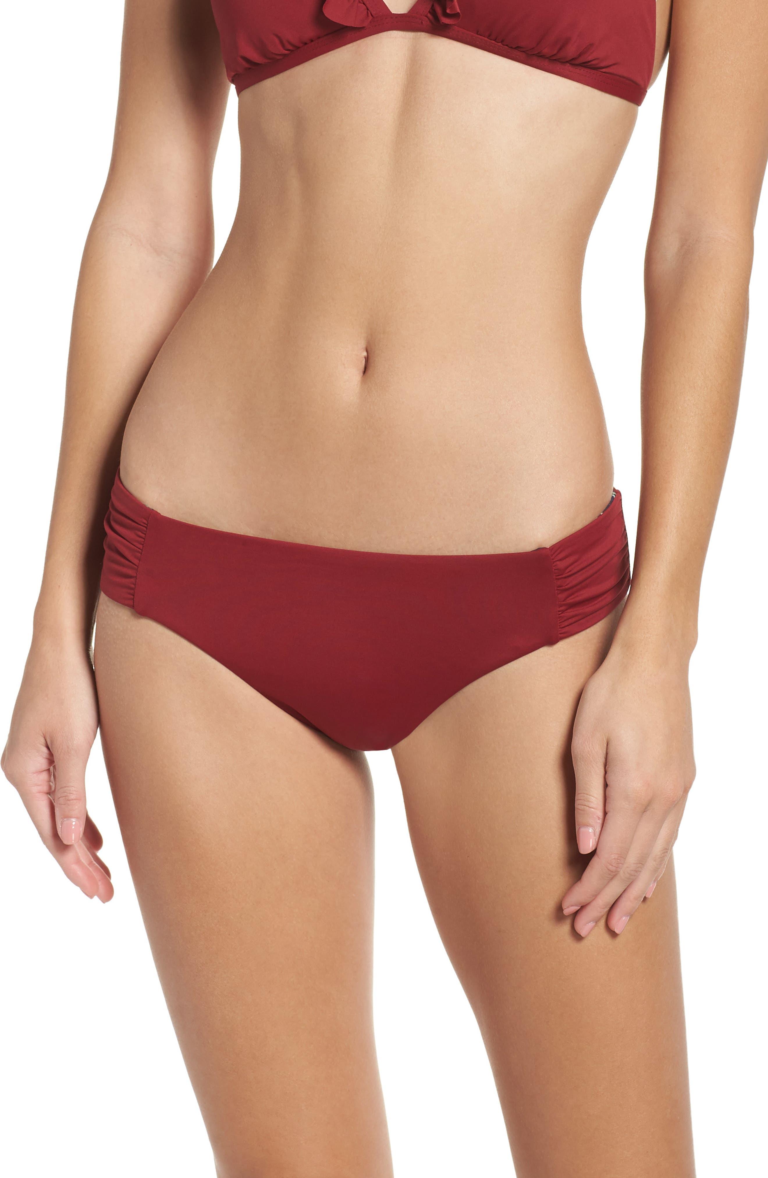 Sienna Reversible Hipster Bikini Bottoms,                         Main,                         color, RED RUMBA