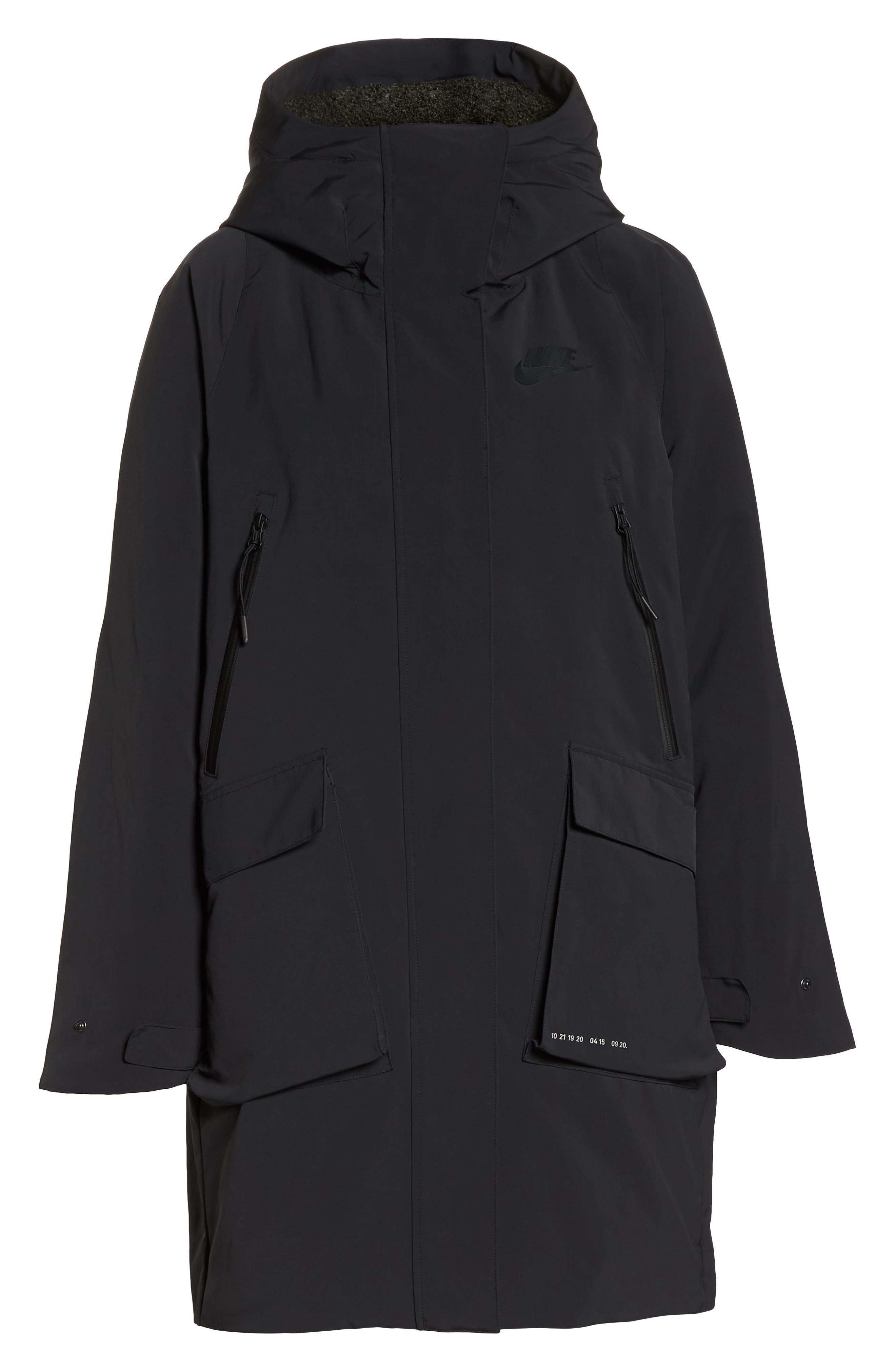 Sportswear Tech Pack Women's Down Fill Parka,                             Alternate thumbnail 6, color,                             BLACK/ NEWSPRINT/ BLACK