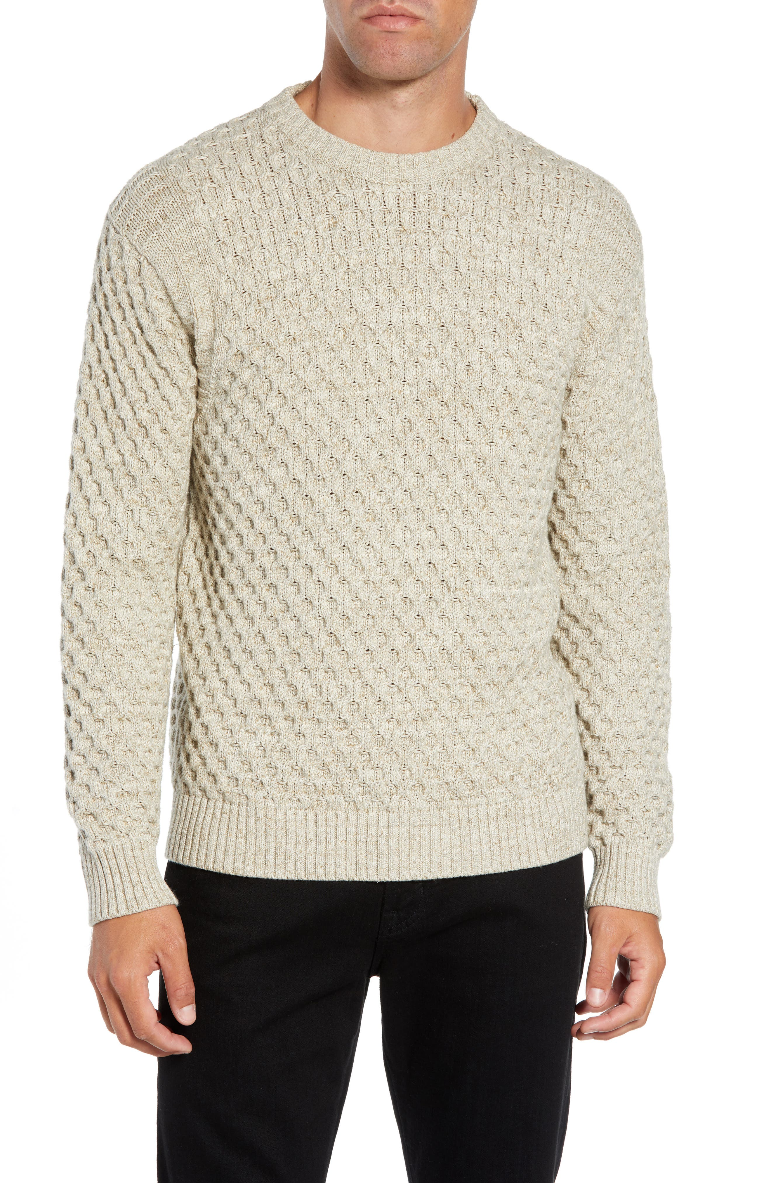 Ethan Fisherman Cable Sweater,                             Main thumbnail 1, color,                             CREAM