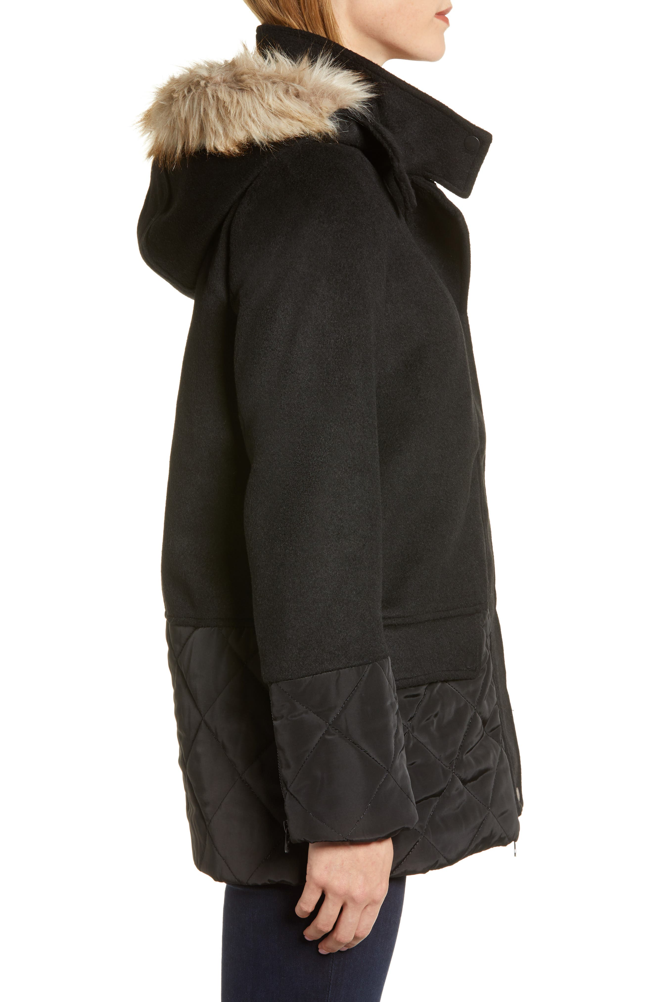 Mixed Texture Hooded Coat with Faux Fur Trim,                             Alternate thumbnail 3, color,                             BLACK