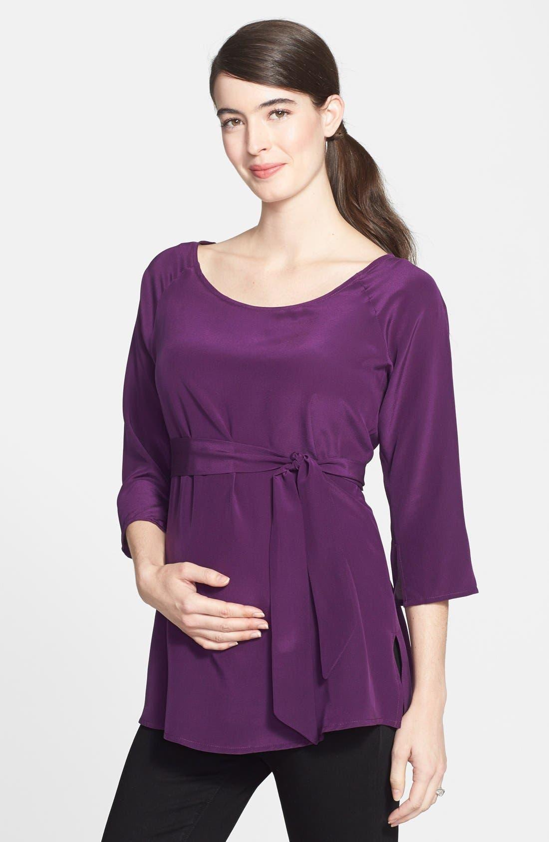 London Silk Maternity Tunic,                             Main thumbnail 2, color,