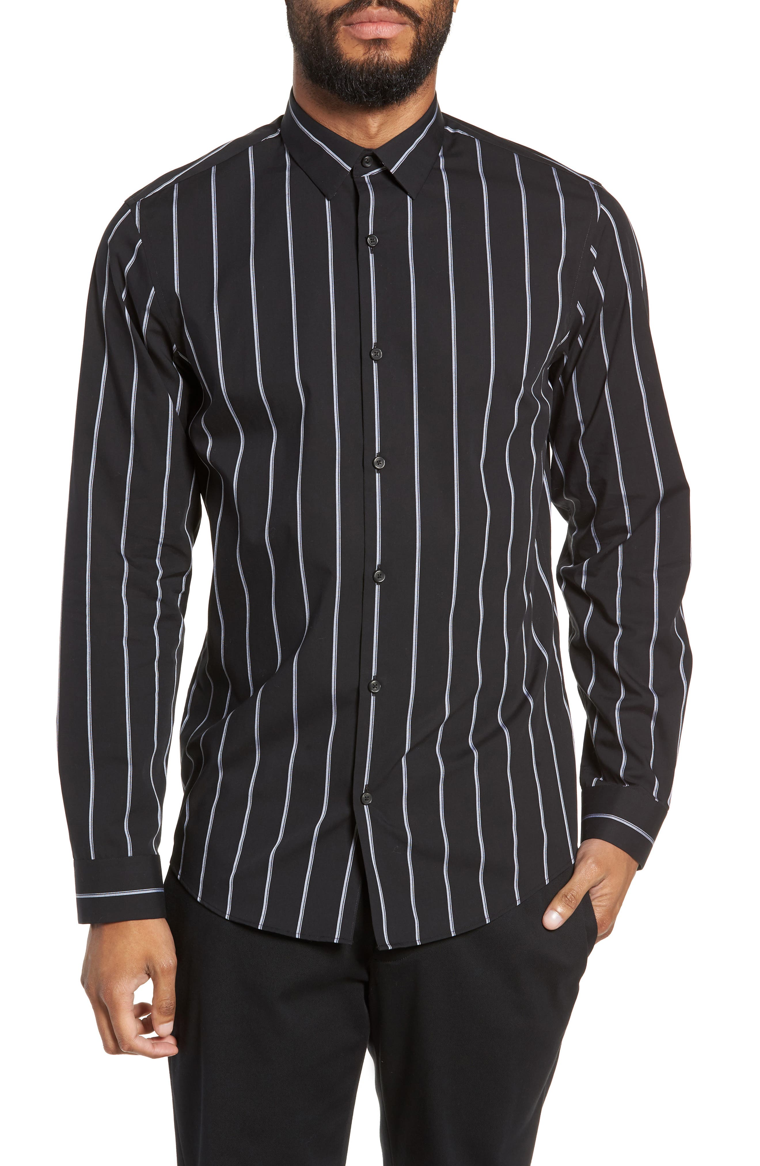 Calibrate Slim Fit Mini Collar Stripe Sport Shirt