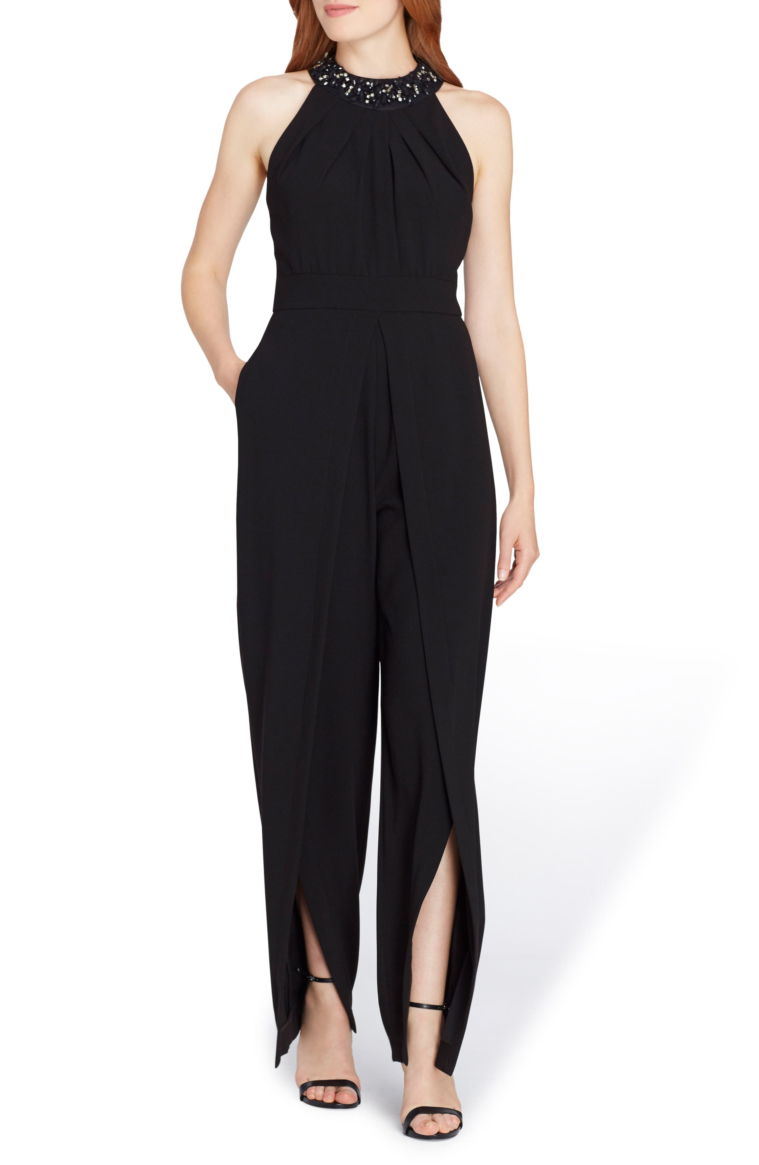 Beaded Neck Sleeveless Crepe Jumpsuit,                         Main,                         color, 001