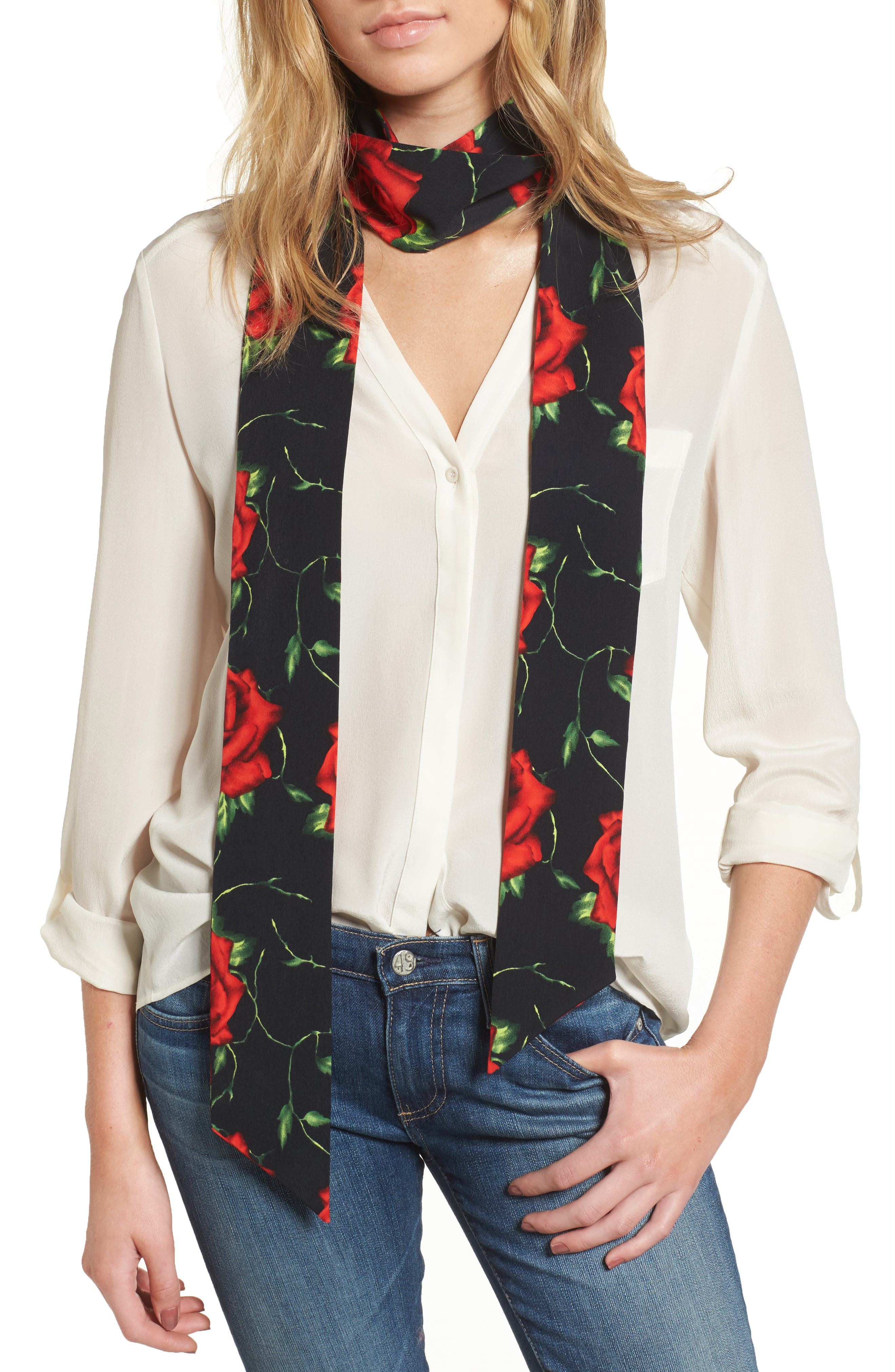 Rose Print Skinny Scarf,                             Main thumbnail 1, color,                             001