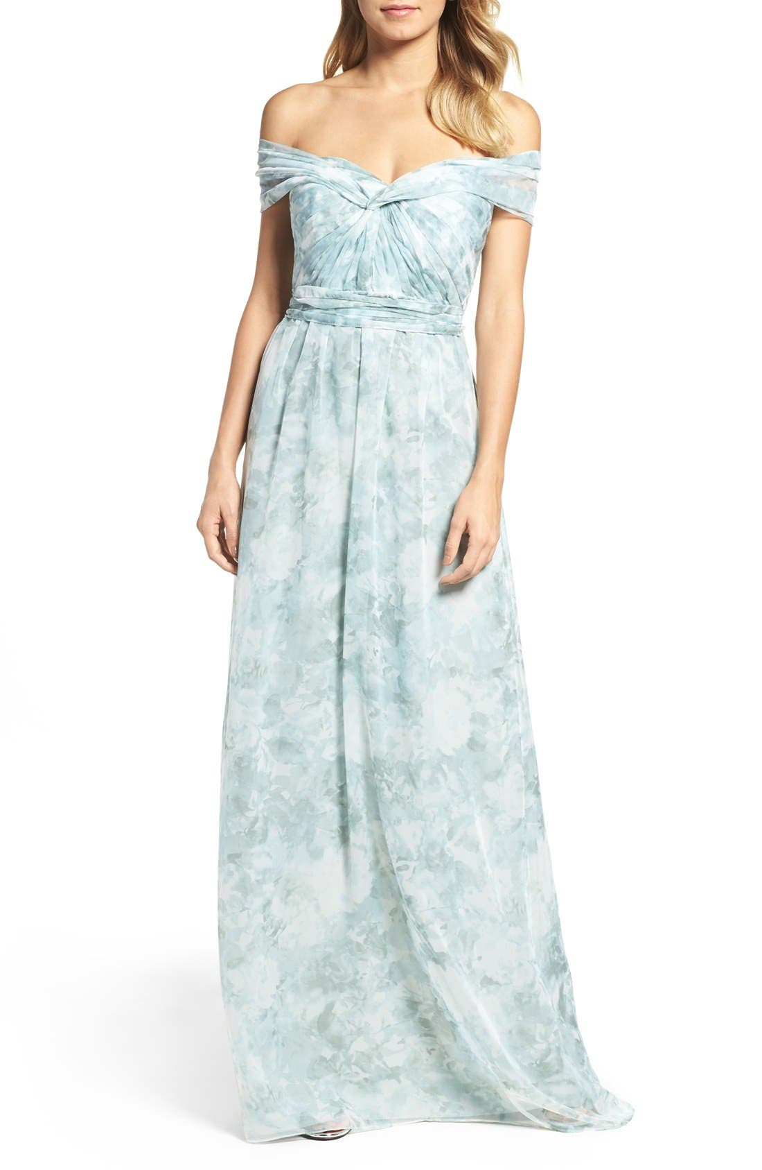 Nyla Floral Print Convertible Strapless Chiffon Gown,                             Main thumbnail 4, color,