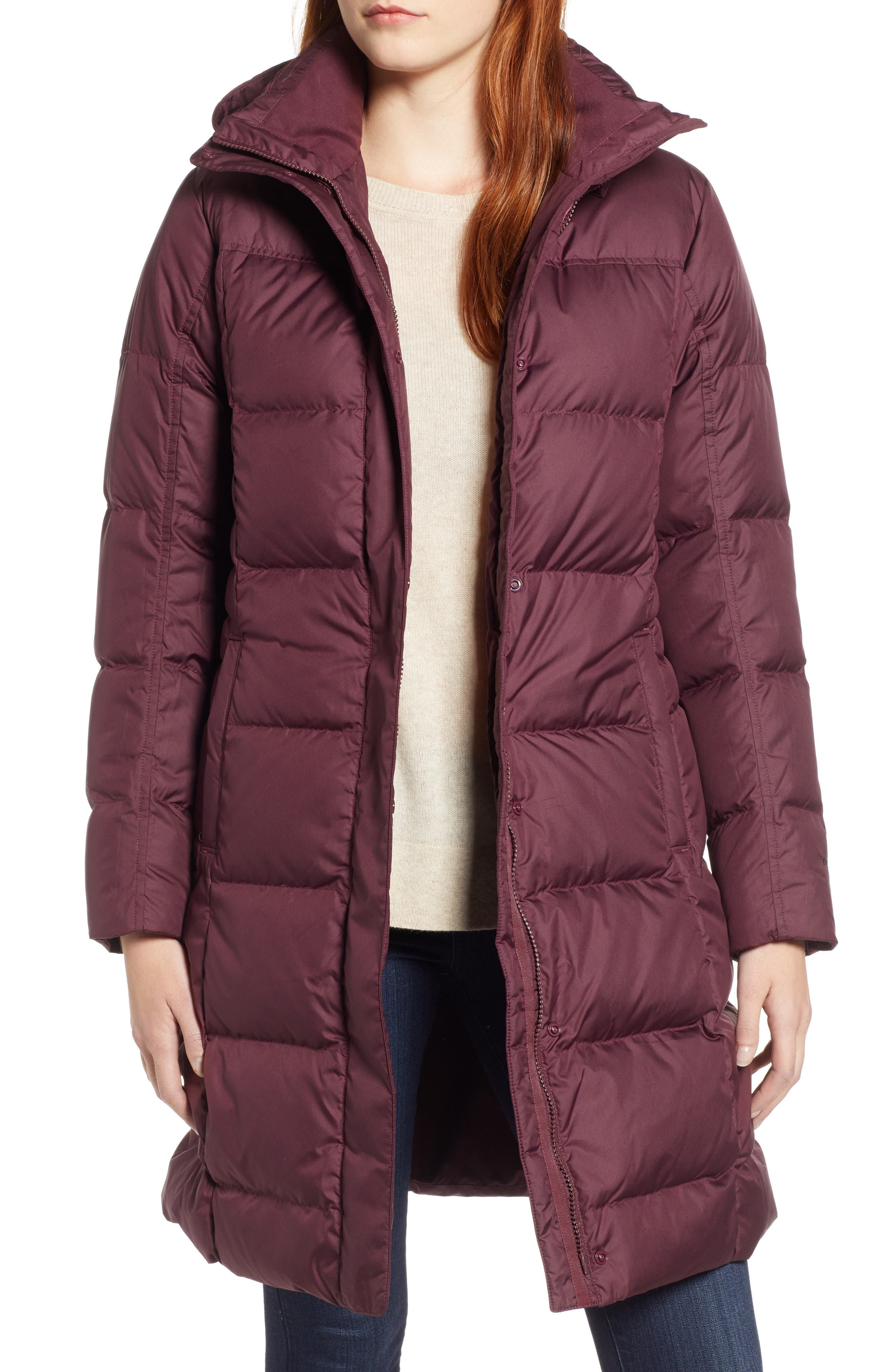 'Down with It' Water RepellentParka,                             Main thumbnail 1, color,                             DARK CURRANT