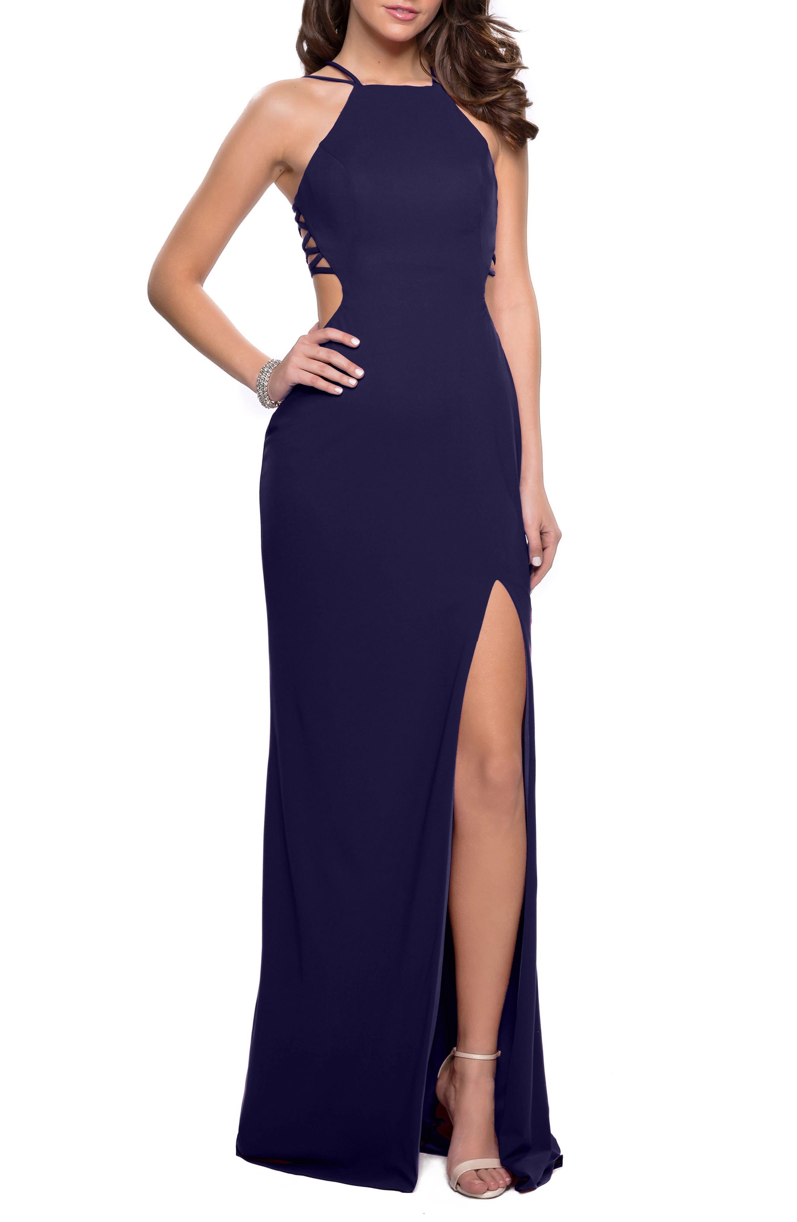 La Femme Open Back Jersey Gown, Blue