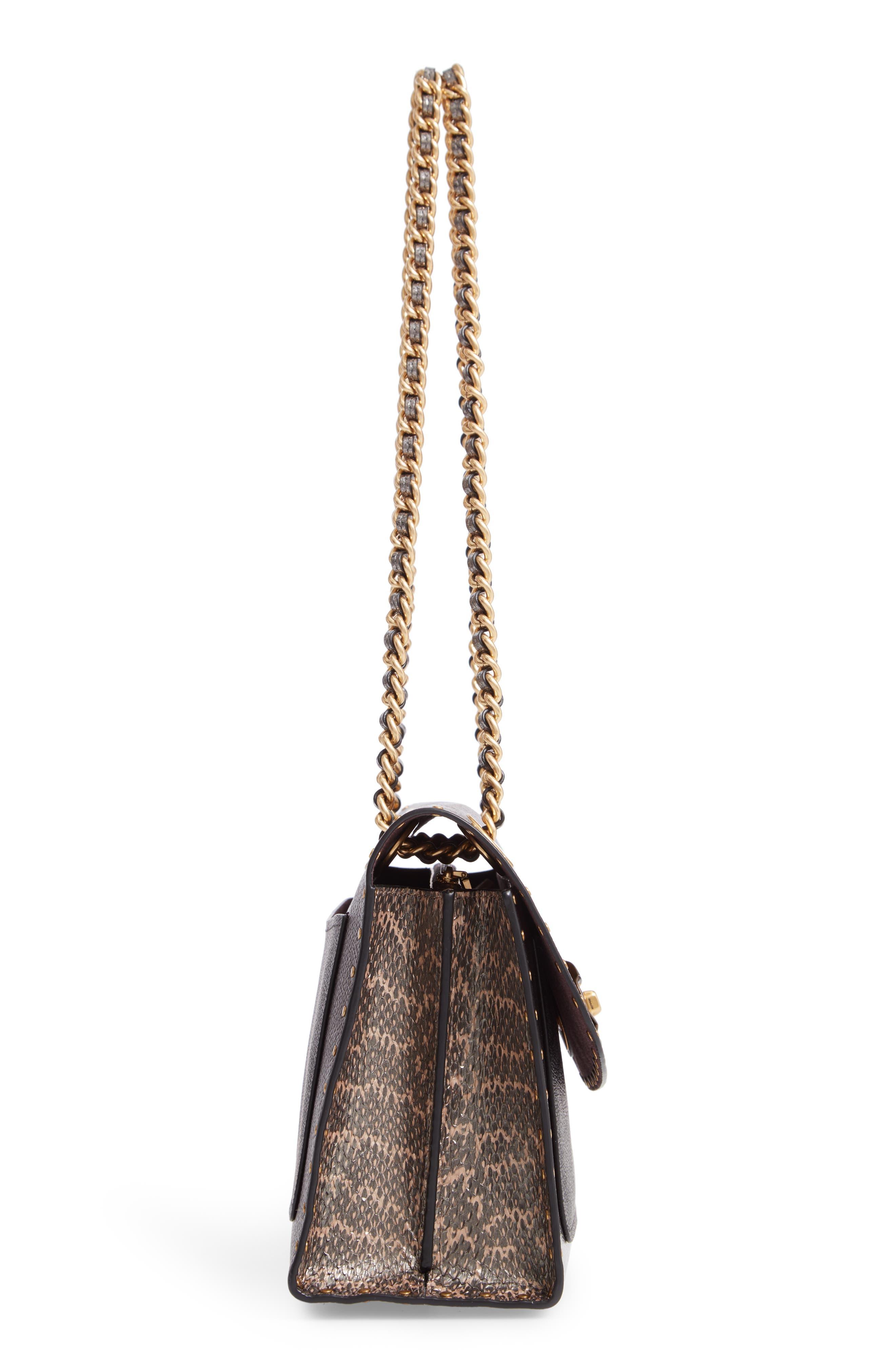Signature Border Parker Leather & Genuine Snakeskin Shoulder Bag,                             Alternate thumbnail 5, color,                             CHARCOAL METALLIC GRAPHITE