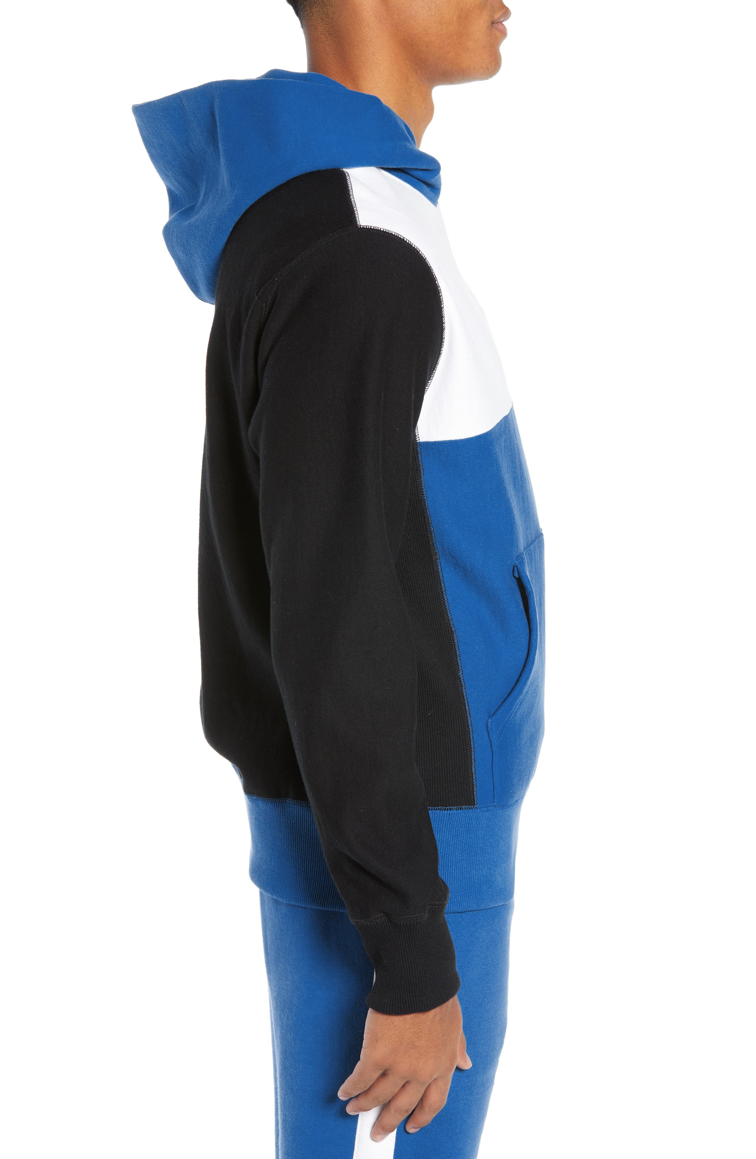 Regular Fit Colorblock Hoodie,                             Alternate thumbnail 3, color,                             BLUE