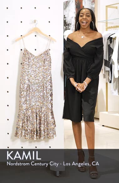 Ruffle Hem Sequin Midi Dress, sales video thumbnail