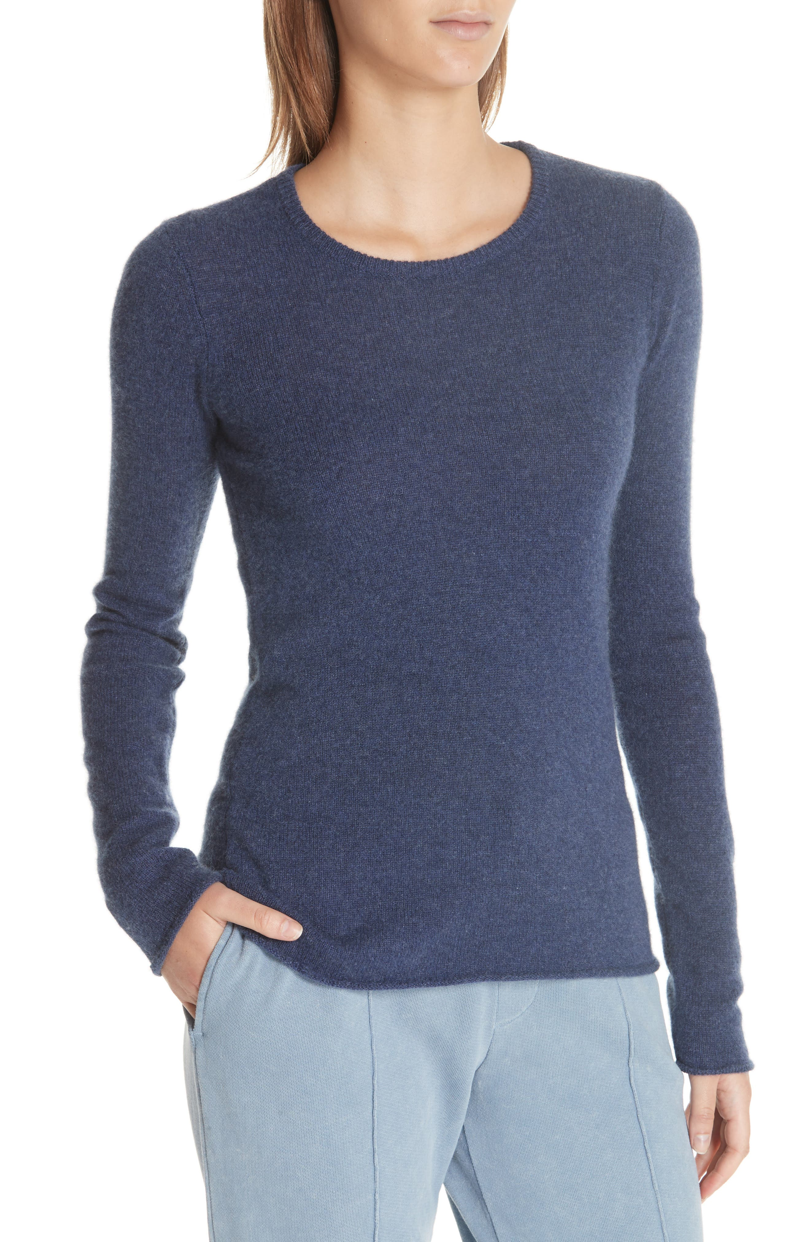Cashmere Sweater,                             Alternate thumbnail 4, color,                             HEATHER NAVY