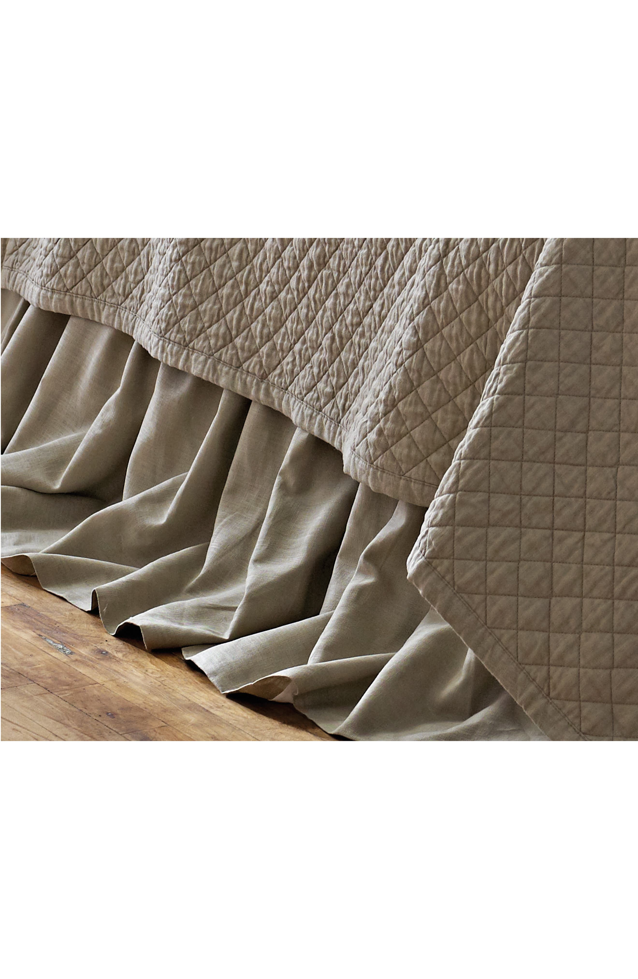 Emily Gathered Linen Bed Skirt,                         Main,                         color, STONE