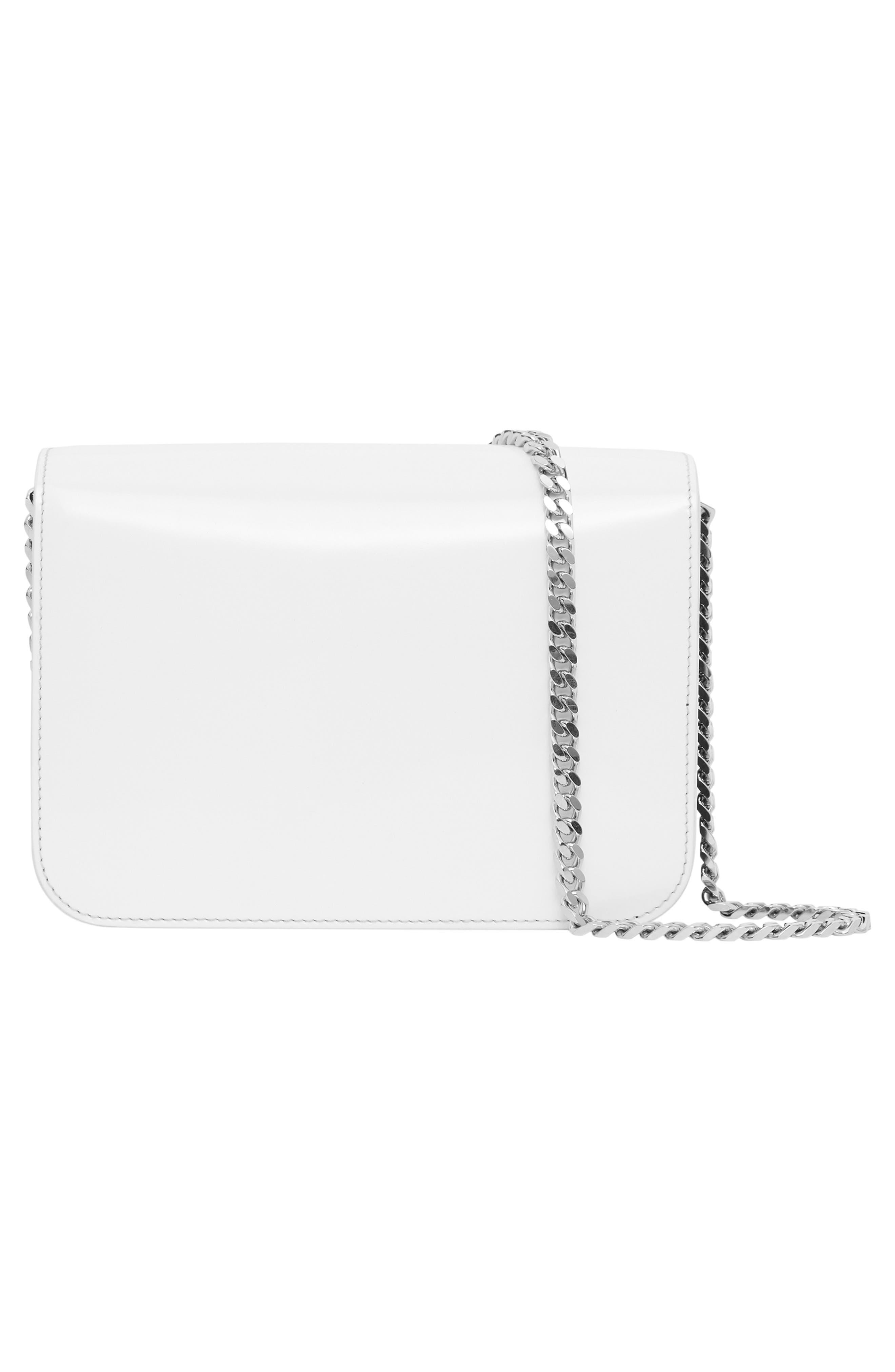 BURBERRY,                             Small Painted Edge Logo TB Crossbody Bag,                             Alternate thumbnail 4, color,                             BLACK/ WHITE