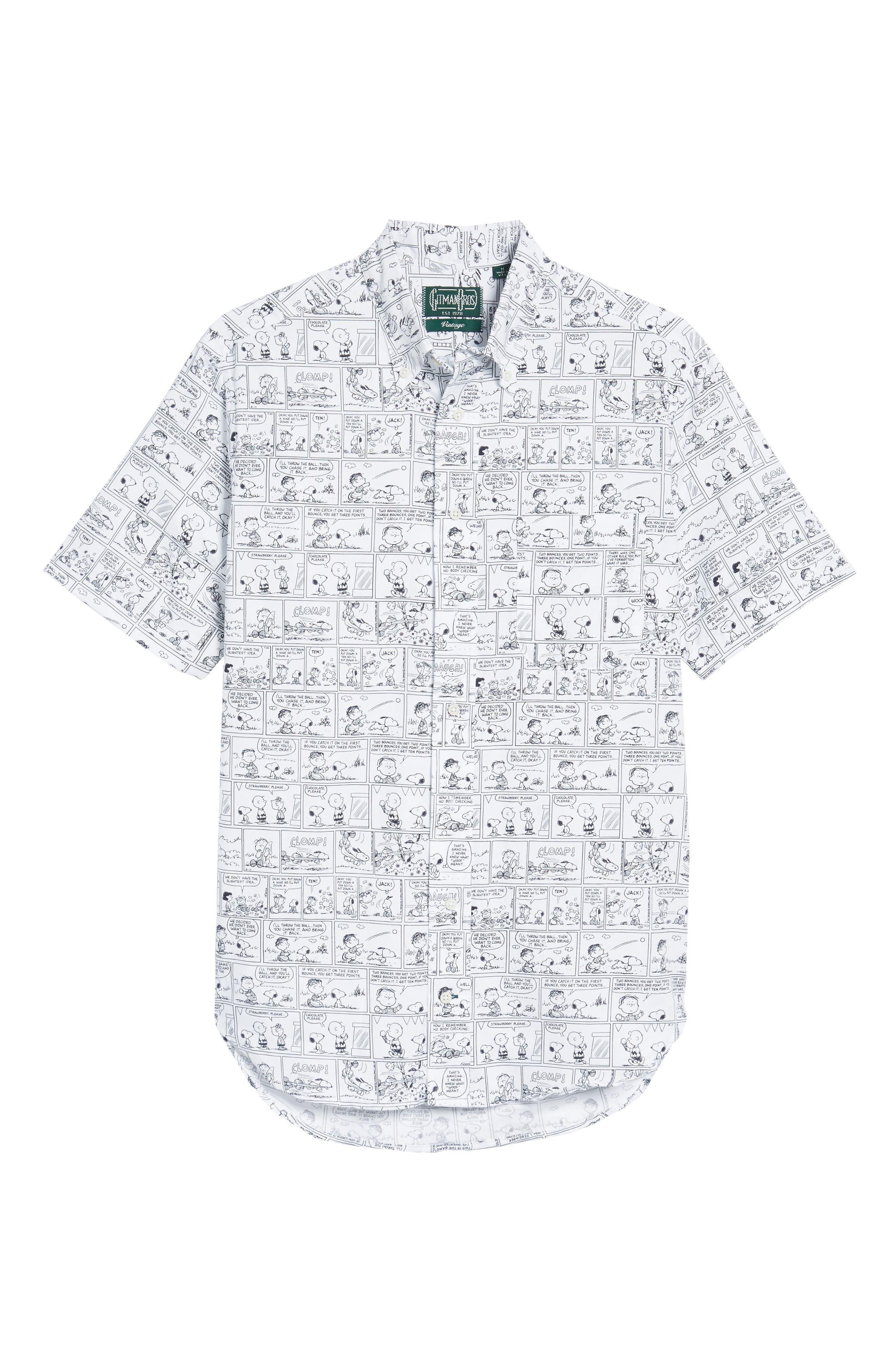 Peanuts Print Short Sleeve Sport Shirt,                         Main,                         color, 001