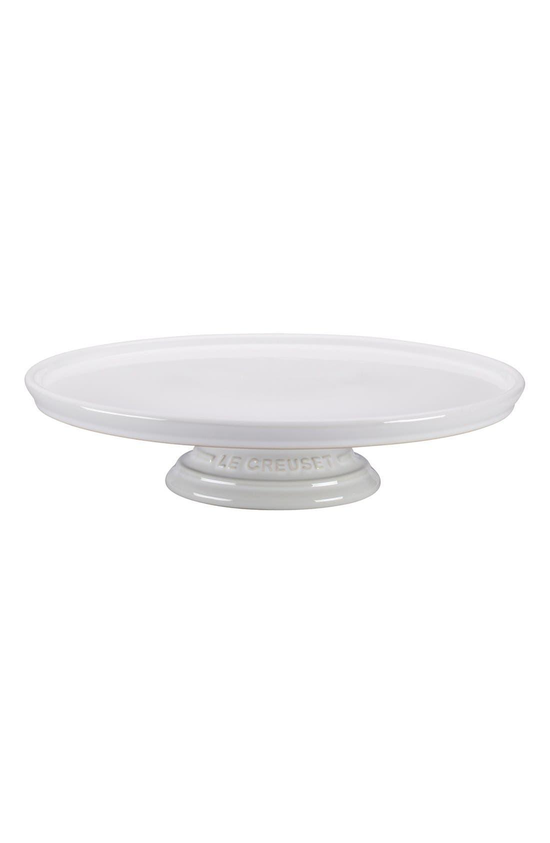 Stoneware Cake Stand,                         Main,                         color, WHITE