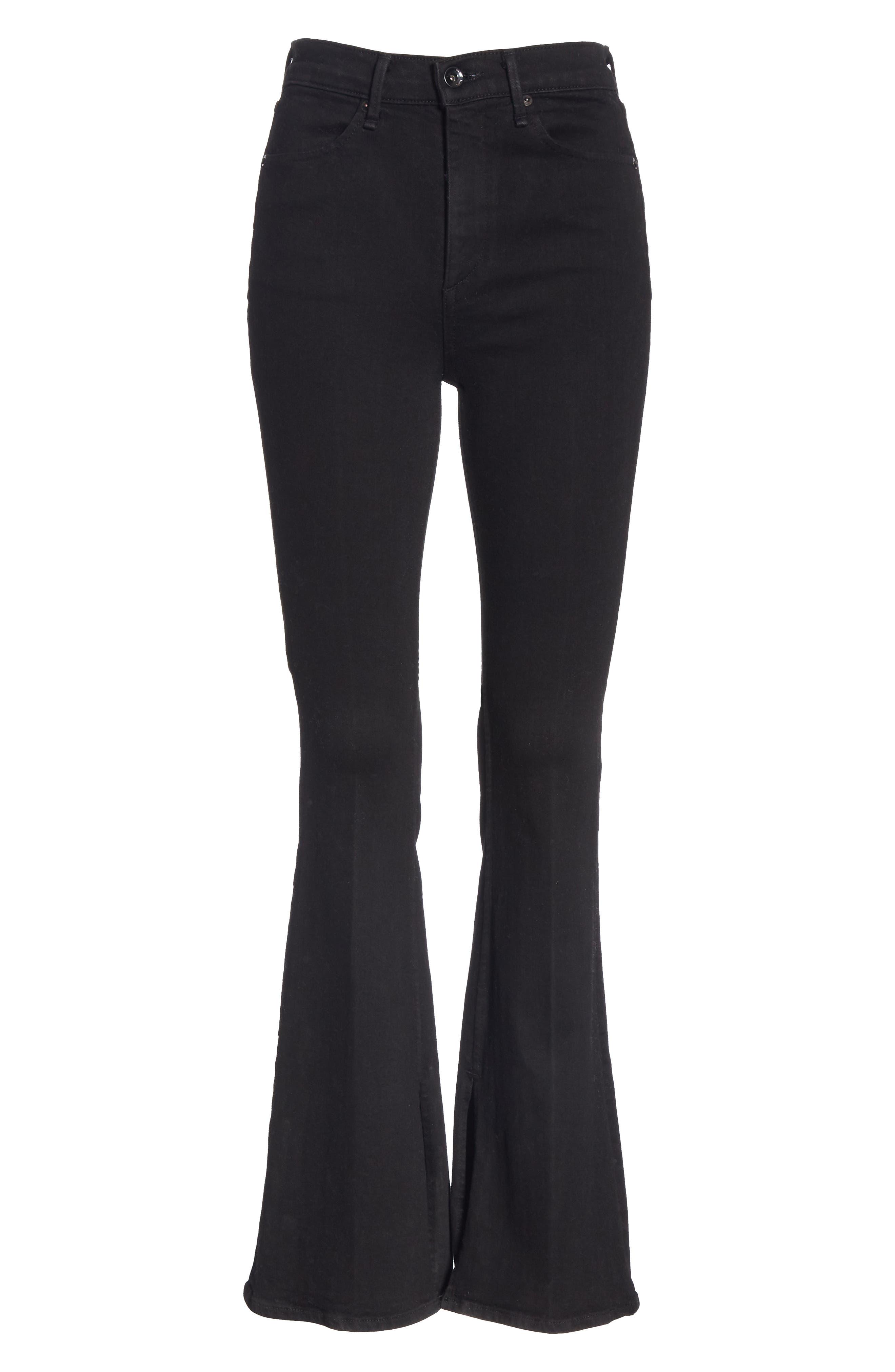 Bella Flare Jeans,                             Alternate thumbnail 6, color,                             BLACK