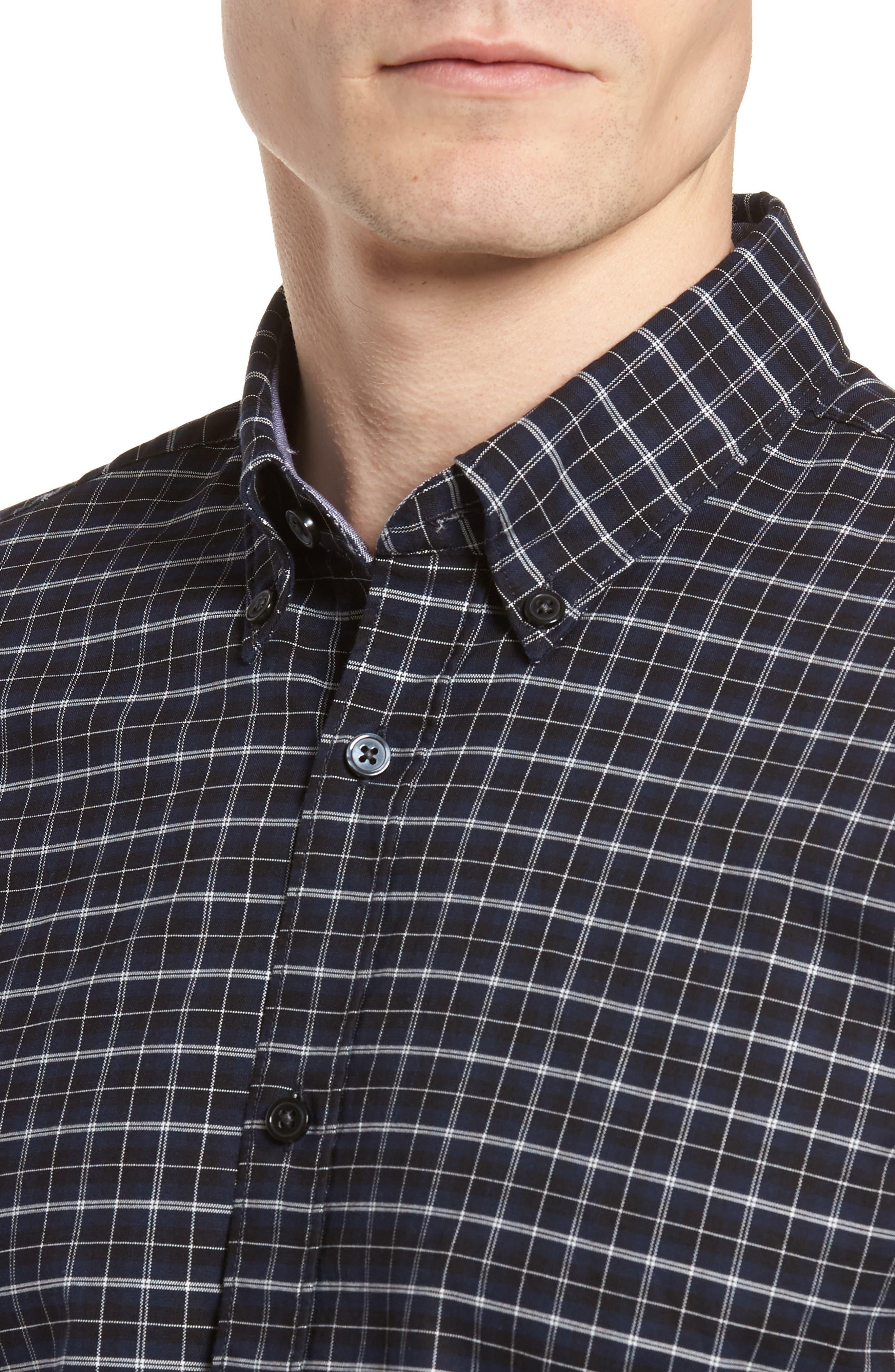 Rod Slim Fit Oxford Check Sport Shirt,                             Alternate thumbnail 4, color,