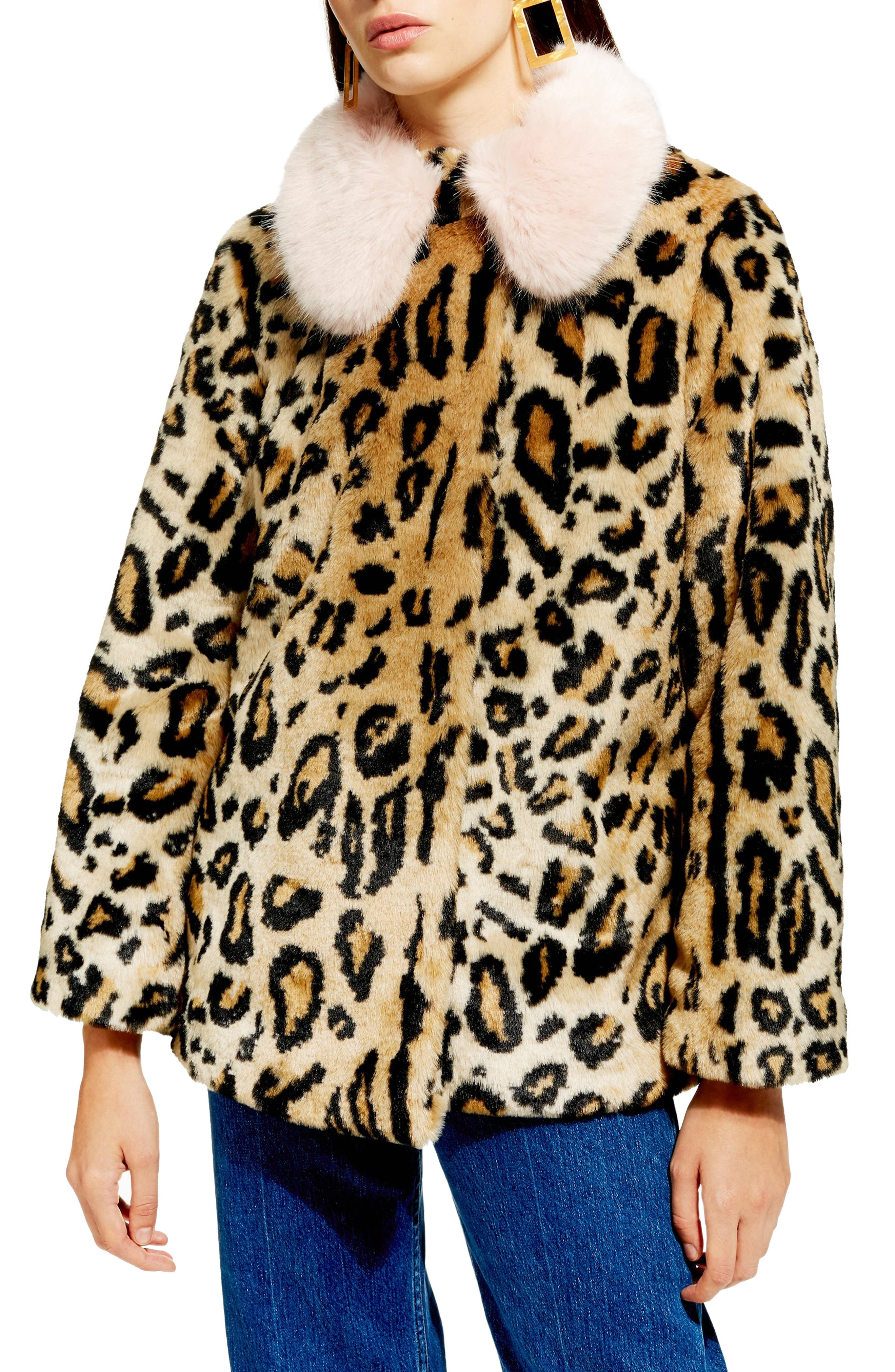Leopard Spot Faux Fur Coat,                             Main thumbnail 1, color,                             BROWN MULTI