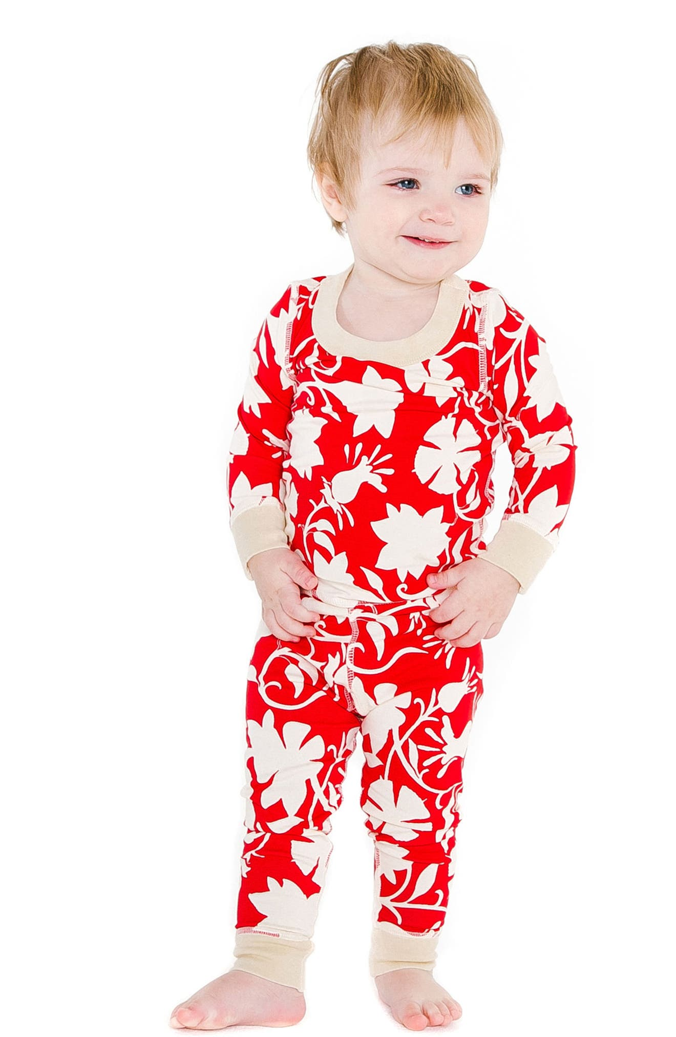 Jolie Organic Cotton Fitted Two-Piece Pajamas,                             Alternate thumbnail 2, color,                             RED
