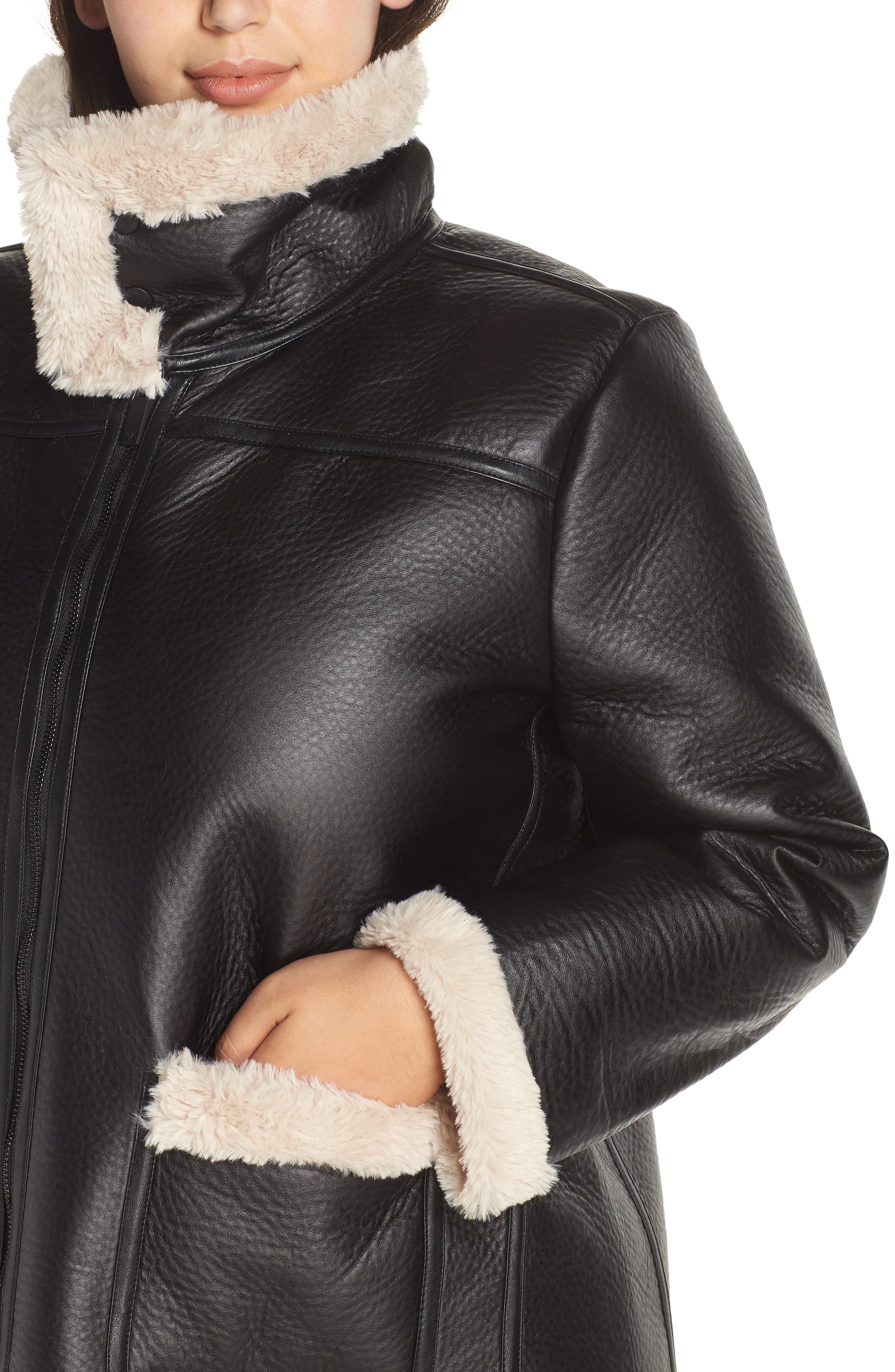 Faux Shearling Jacket,                             Alternate thumbnail 4, color,                             RICH BLACK